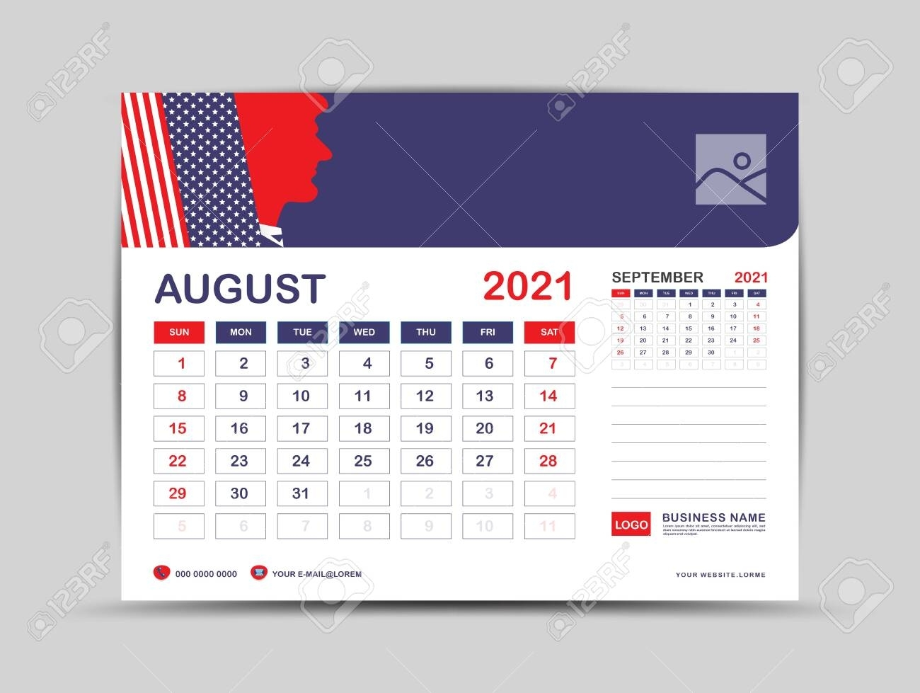 Desk Calendar 2021 Template, August Page Vector For Calendar..