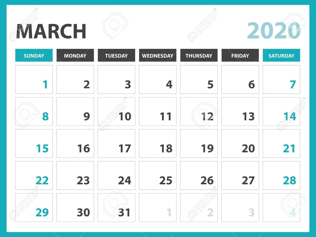 Desk Calendar Layout Size 8 X 6 Inch, March 2020 Calendar Template,.. in 8 X 10 Calendar 2020