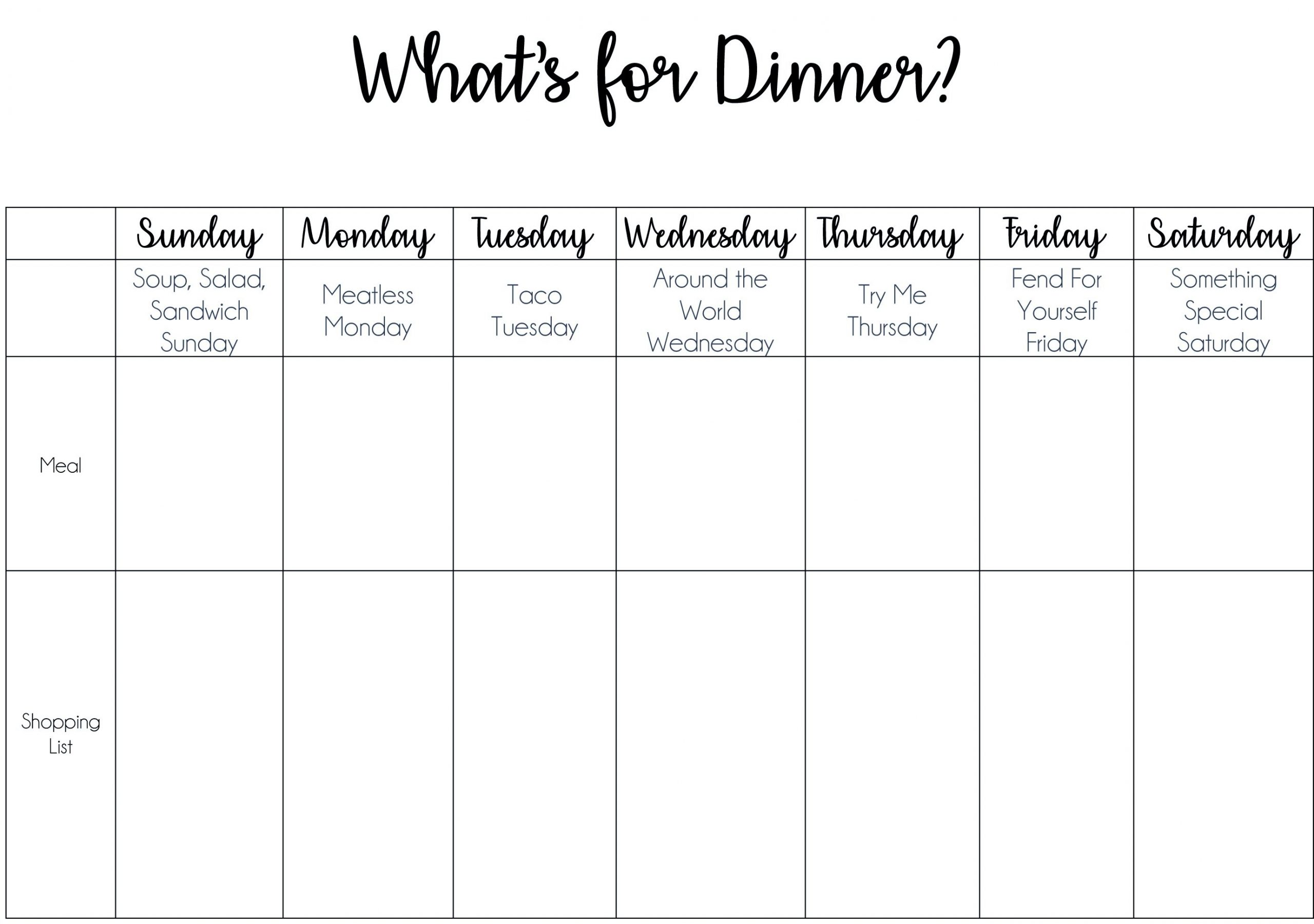 Dinner Made Easy With A Themed Meal-Planning Chart