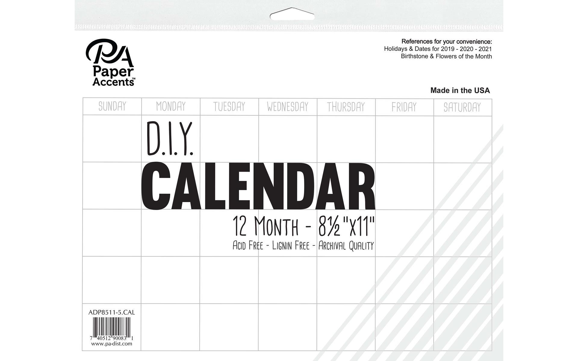 Diy Calendar 8.5X11 12 Month Blank White