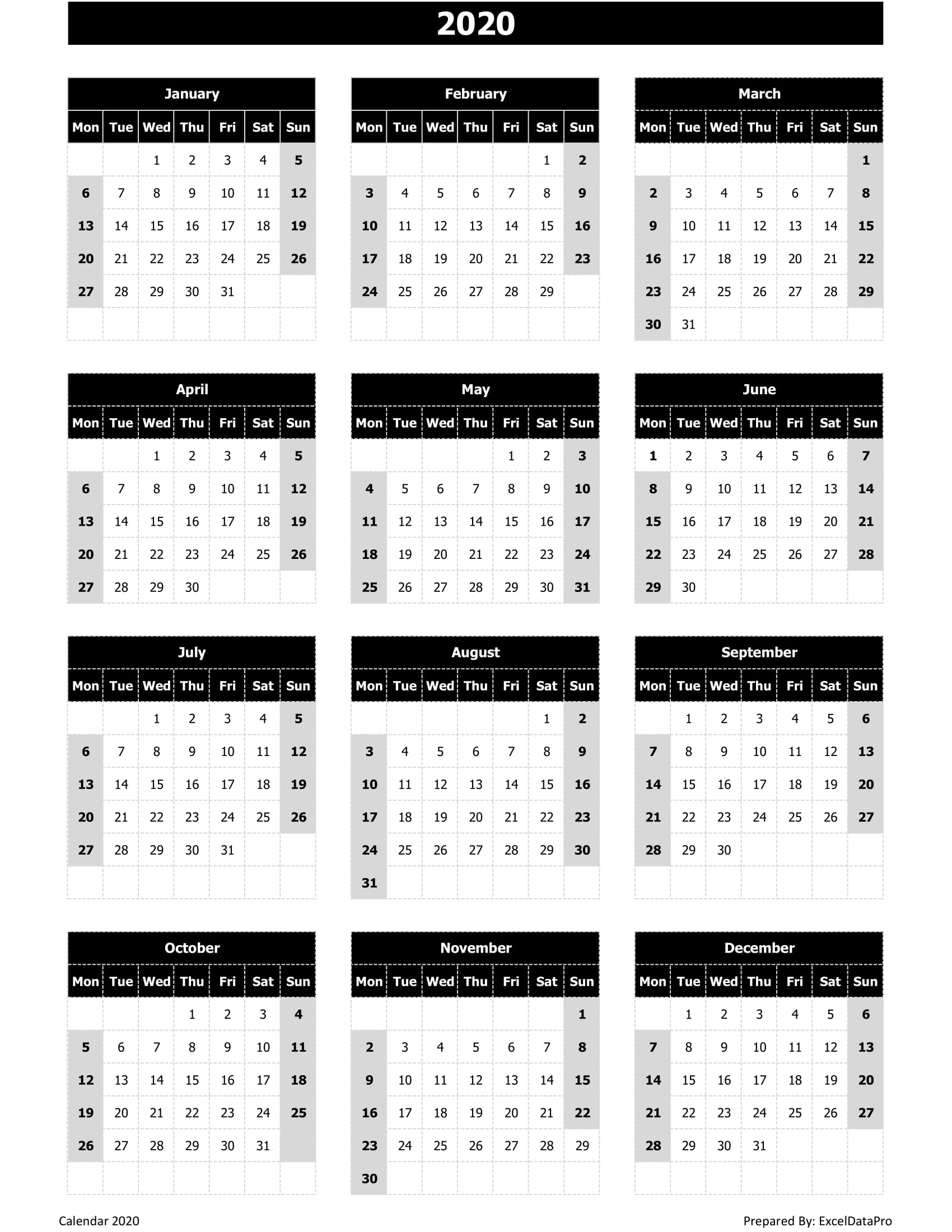 Download 2020 Yearly Calendar (Mon Start) Excel Template regarding Monday To Sunday Calendar 2020 Yearly