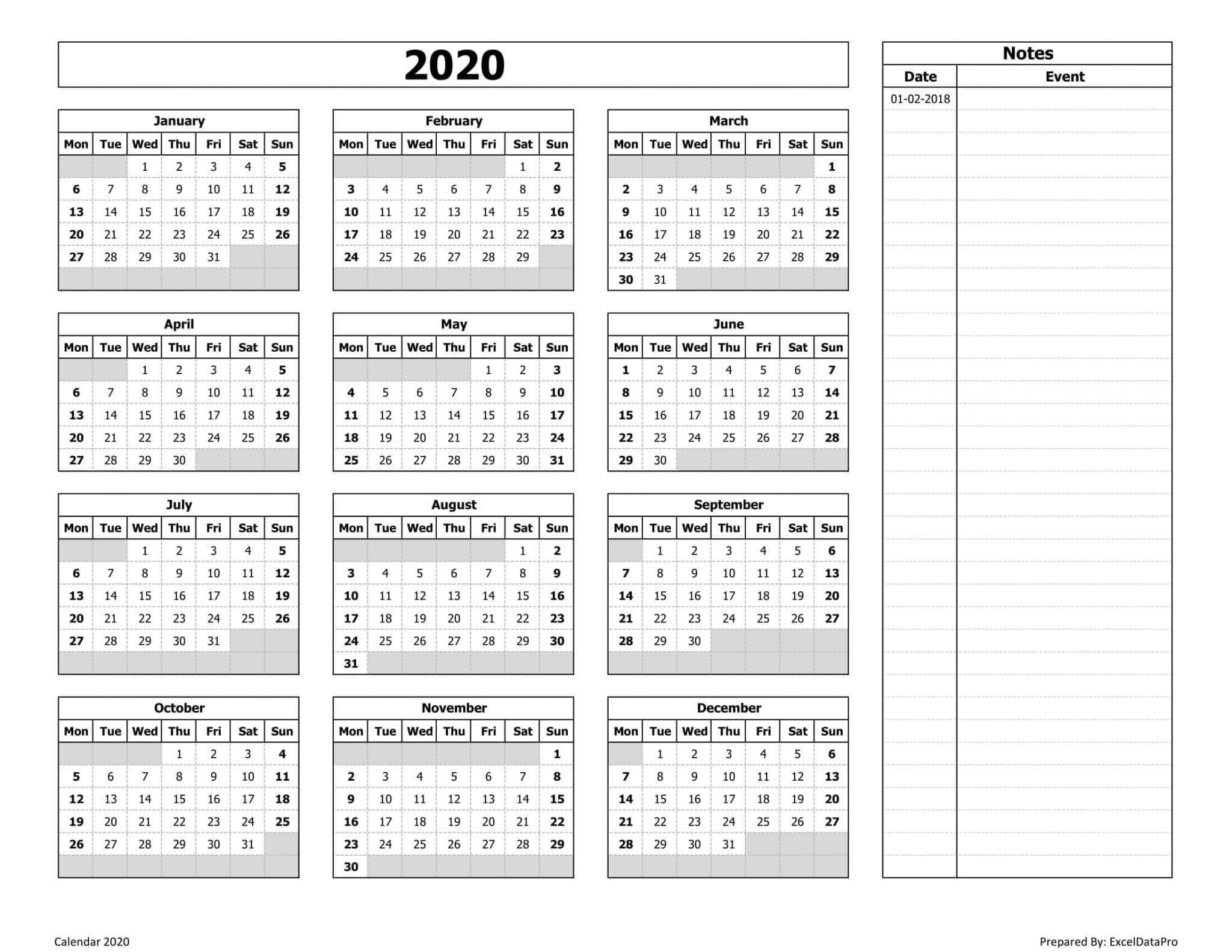 Download 2020 Yearly Calendar (Mon Start) With Notes Excel in Monday To Sunday Calendar 2020 Yearly