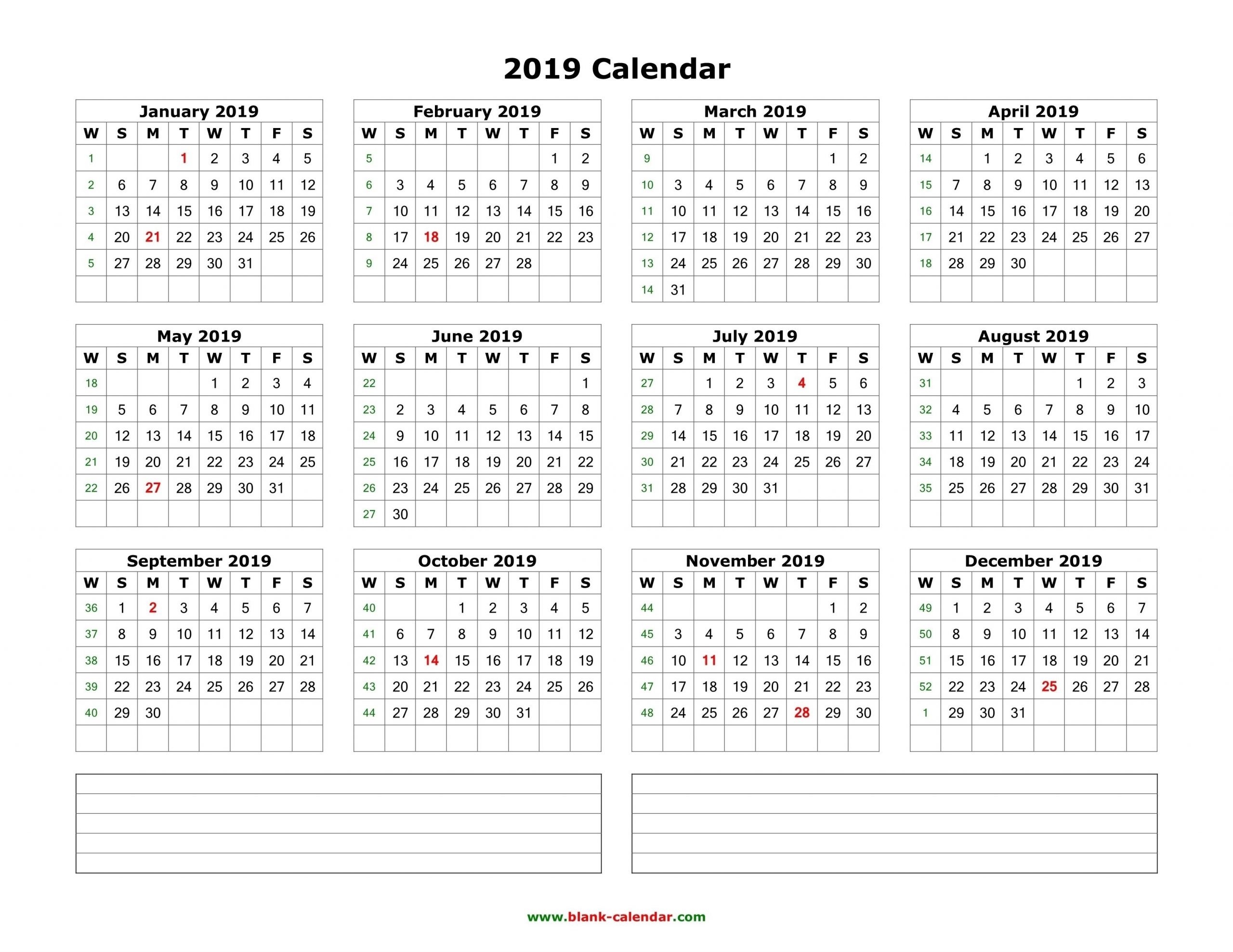 Download Blank Calendar 2019 With Space For Notes (12 Months in 2019 2020 Calendar Space To Write