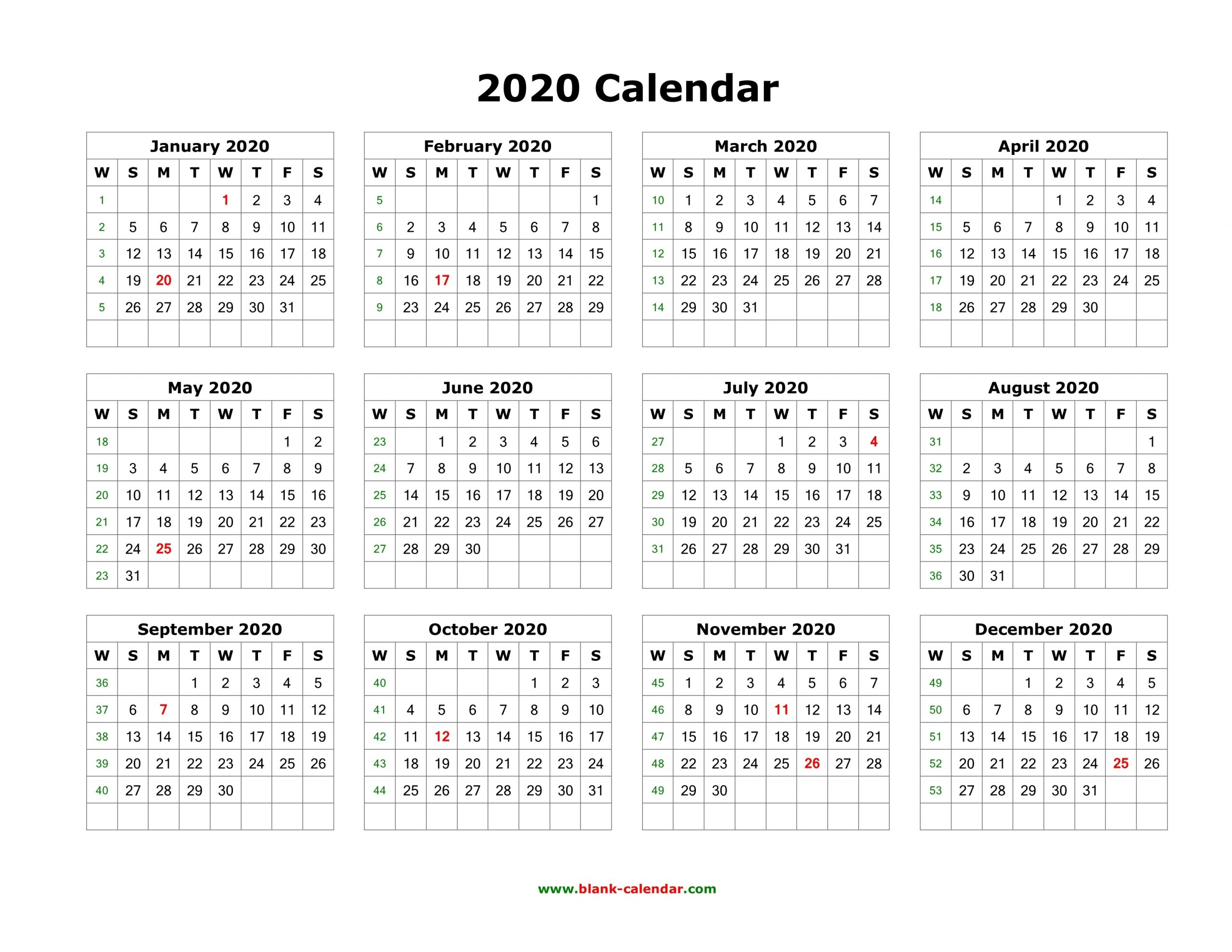 Download Blank Calendar 2020 (12 Months On One Page, Horizontal) intended for 2020 Month Calendar Sunday Through Saturday