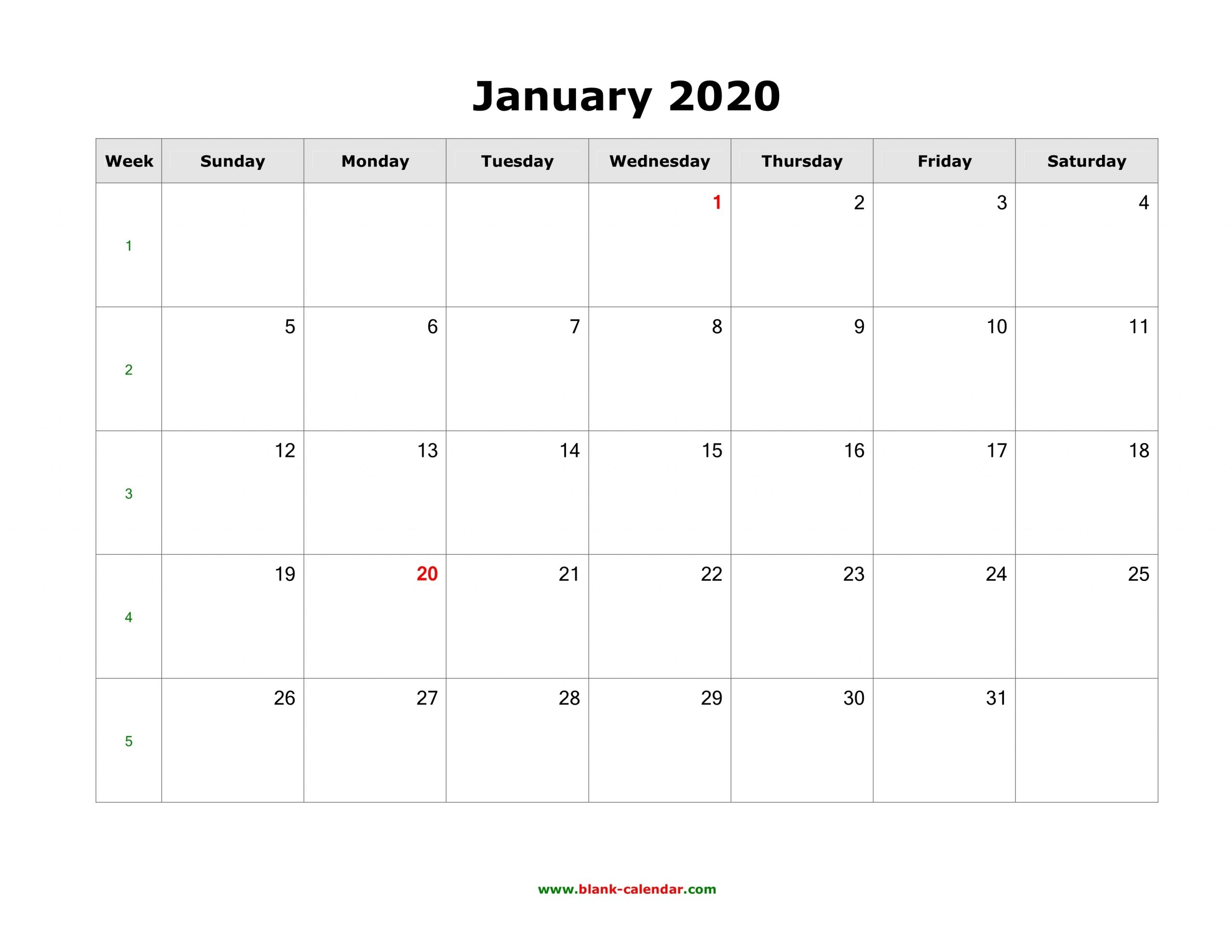Download Blank Calendar 2020 (12 Pages, One Month Per Page inside 2020 Month Calendar Sunday Through Saturday