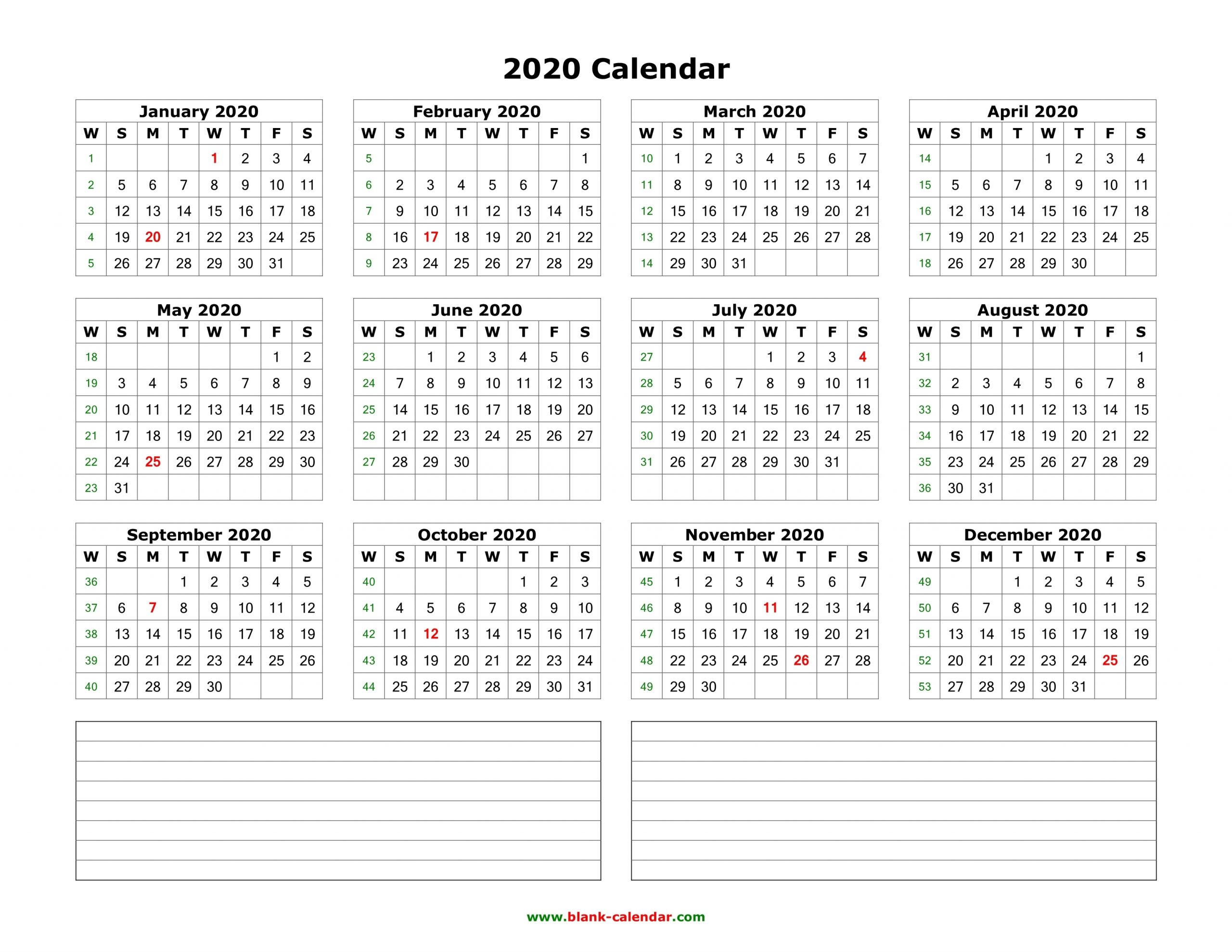 Download Blank Calendar 2020 With Space For Notes (12 Months pertaining to Monday To Sunday Calendar 2020 Yearly