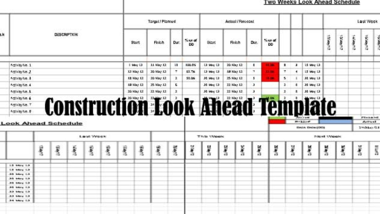 Download Construction Look Ahead Schedule Template - Project