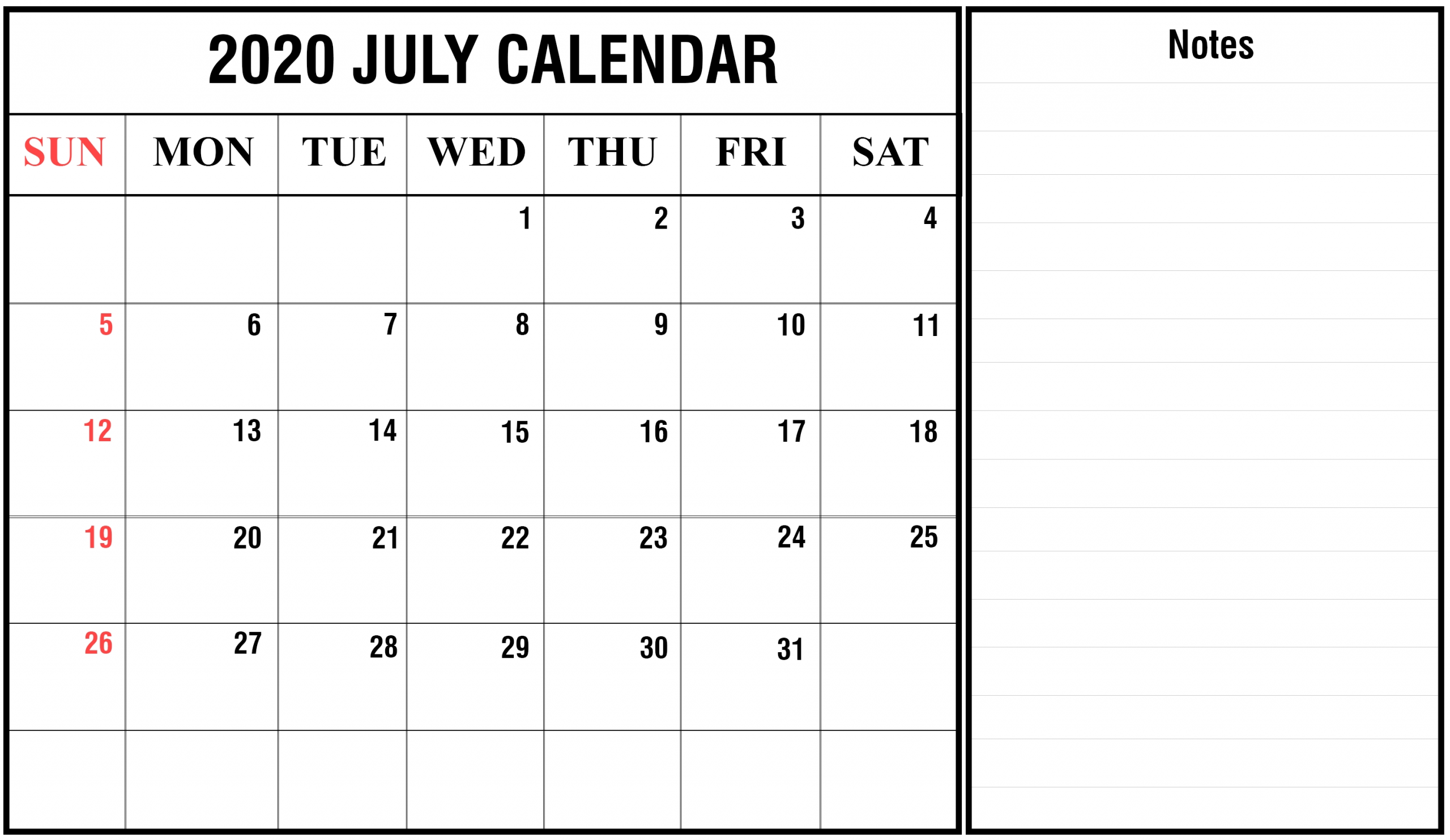 Download July 2020 Calendar Printable Templates {Pdf, Excel with Printable 2020 Calendar Monthly No Download Free Excel
