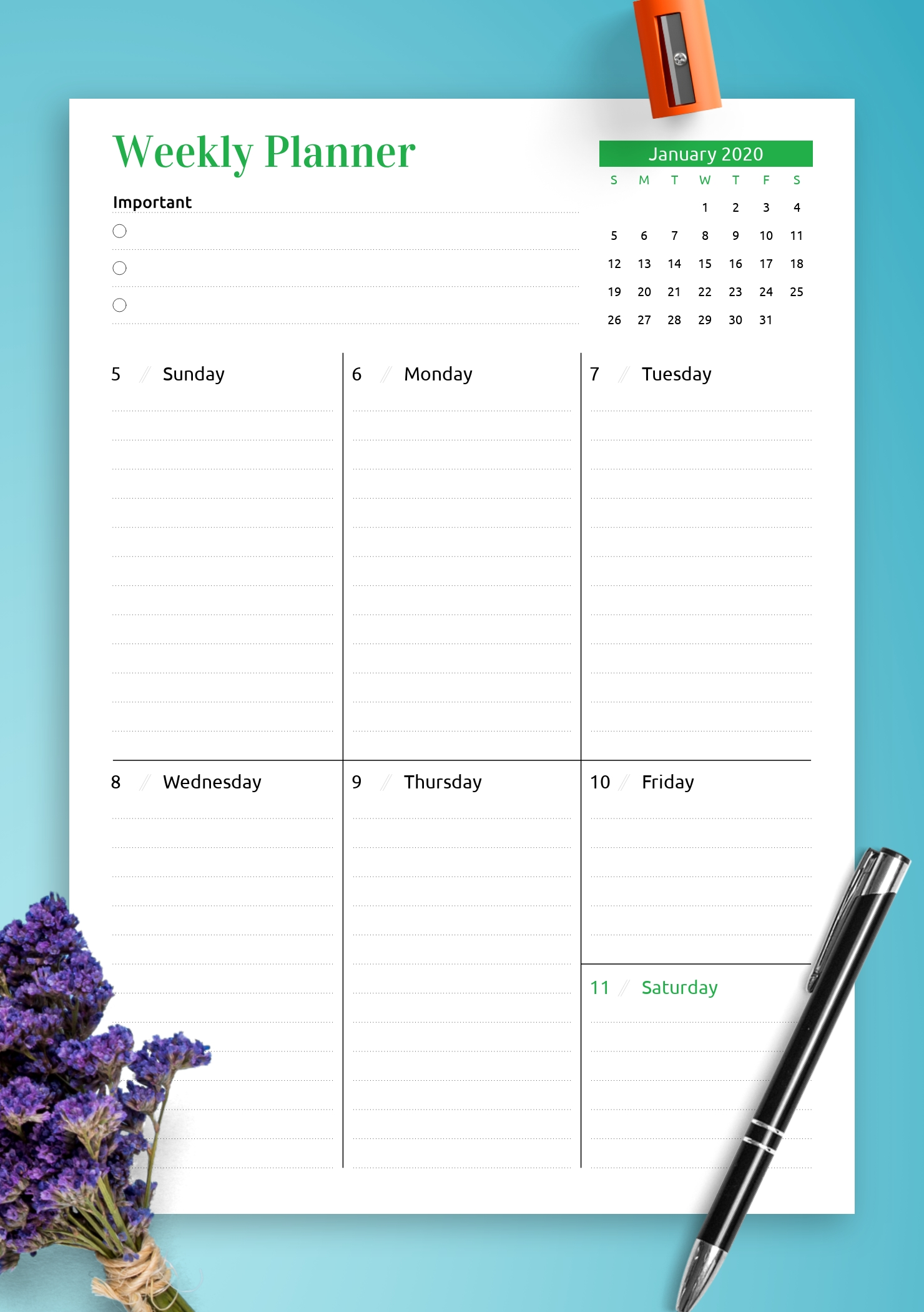 Download Printable Week At A Glance Planner With Calendar Pdf