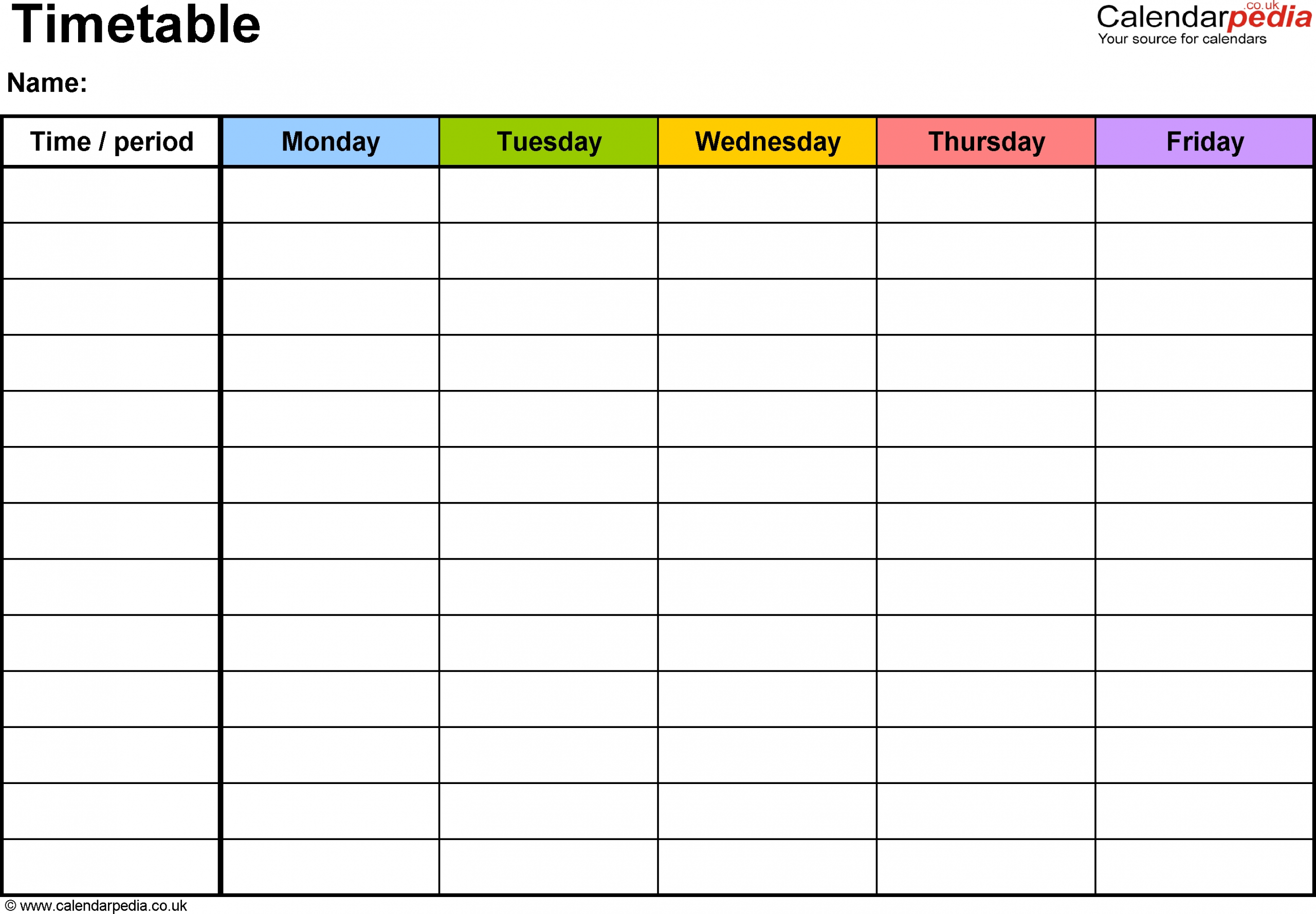 Download Word Timetable Template 1: Landscape Format, A4, 1