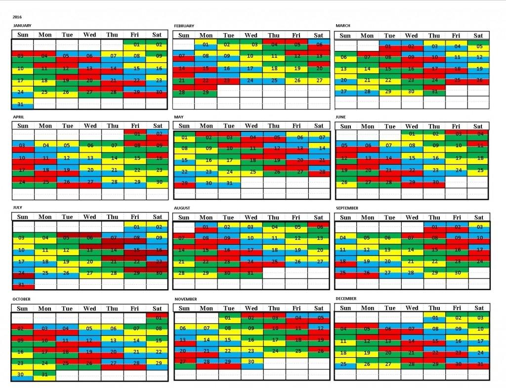 Draft 2016 Shift Calendar | United Fire Fighters Of Winnipeg