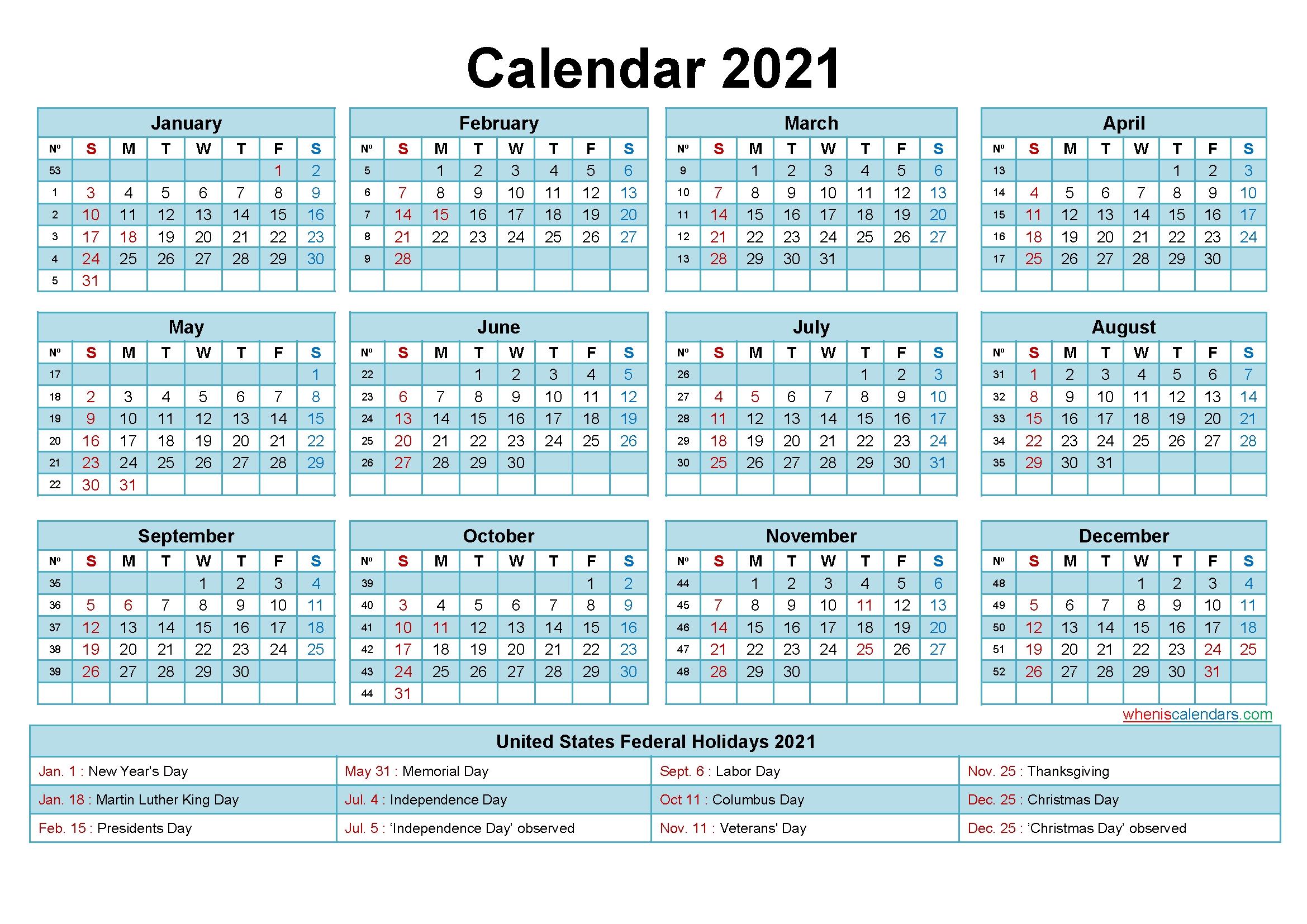 Editable Calendar Template 2021 Word - Template No.ep21Y18