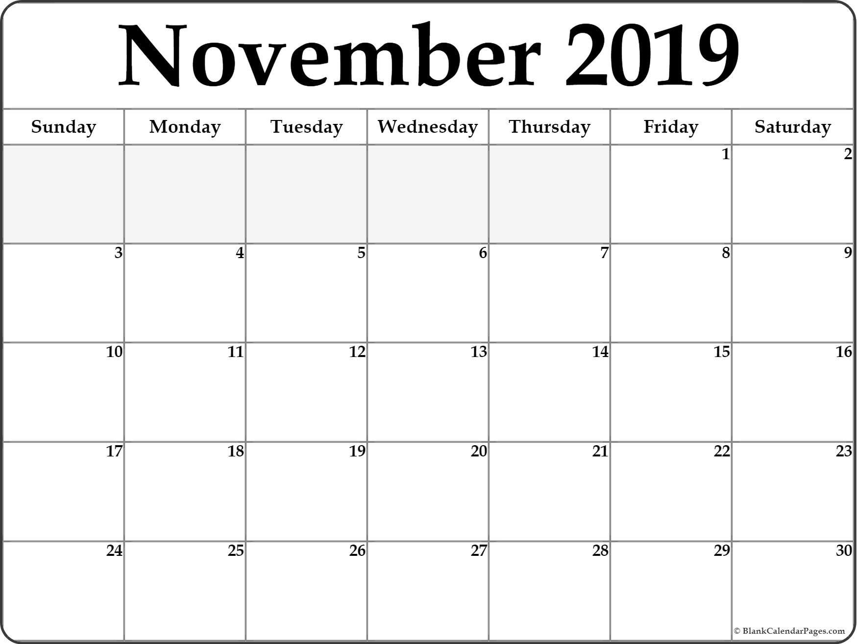 Editable November 2019 Printable Calendar - Word, Pdf, Excel in Fill In Calendar 2019 Printable