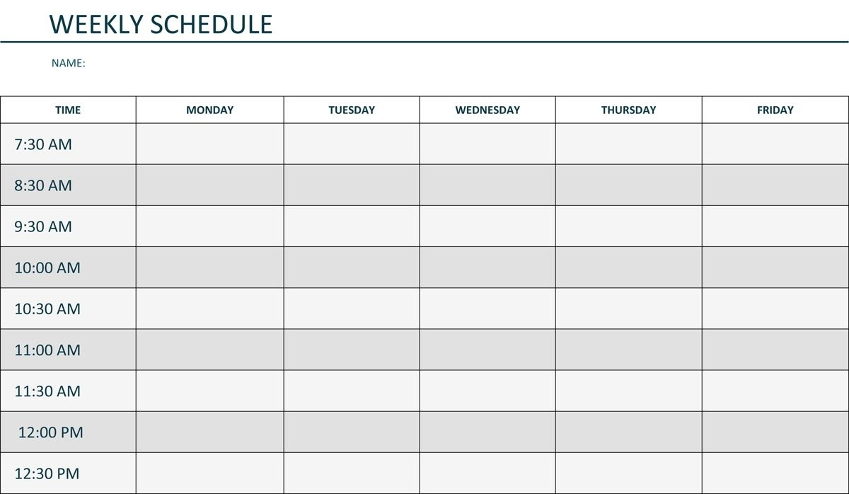 Editable Weekly Schedule Template In Word | Weekly Lesson