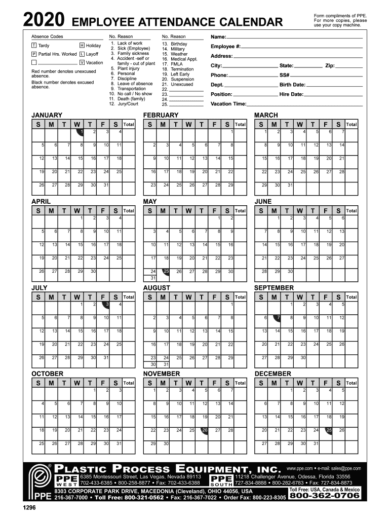 Employee Attendance Calendar 2020 - Fill Online, Printable within Printable Attendance Calendar For 2020