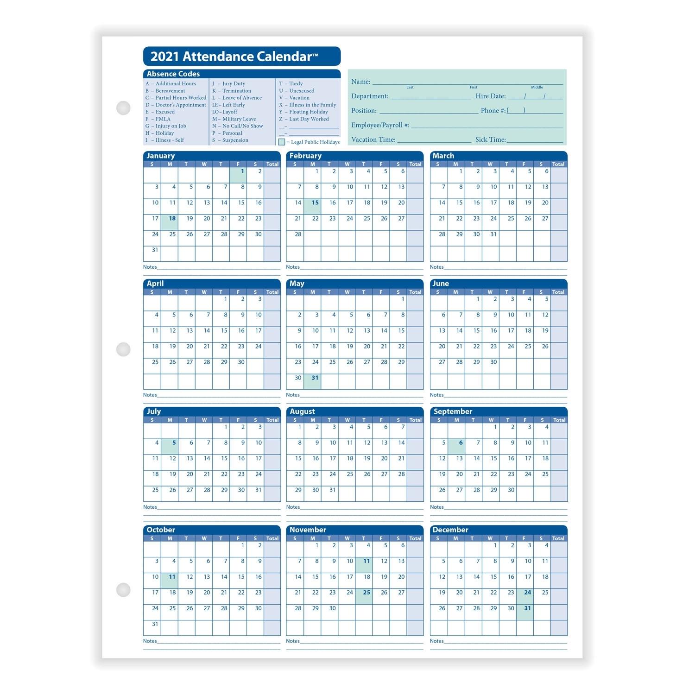 Employee Attendance Calendar for Employee Attendance Calendar 2020 Printable Free