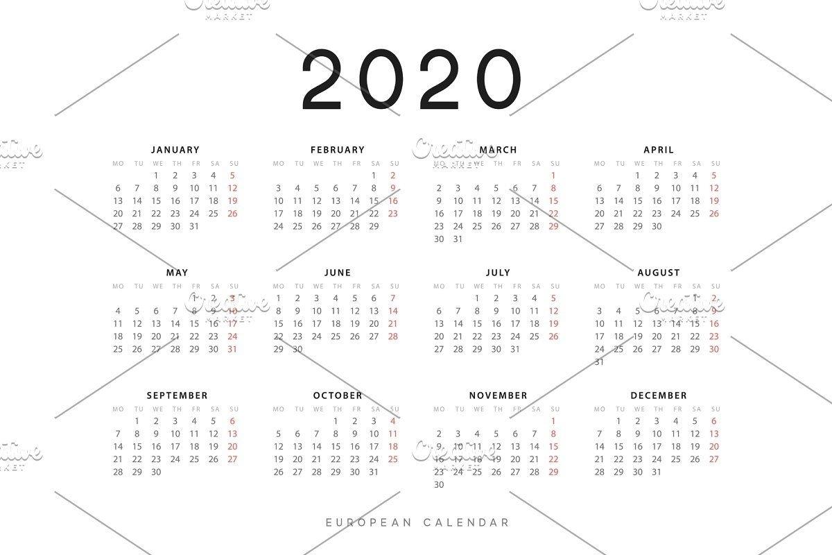 European Calendar For 2020 In 2020 | Calendar, Calendar intended for Calendar That Starts On Monday