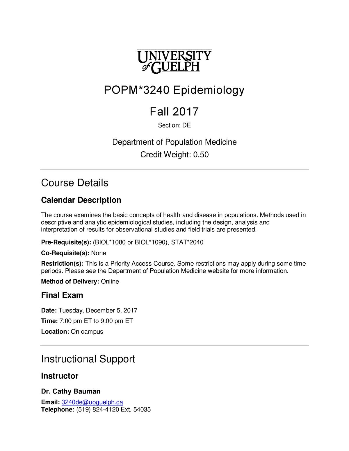 F17 Popm3240 De C Bauman Course Outline Epidemiology Fall
