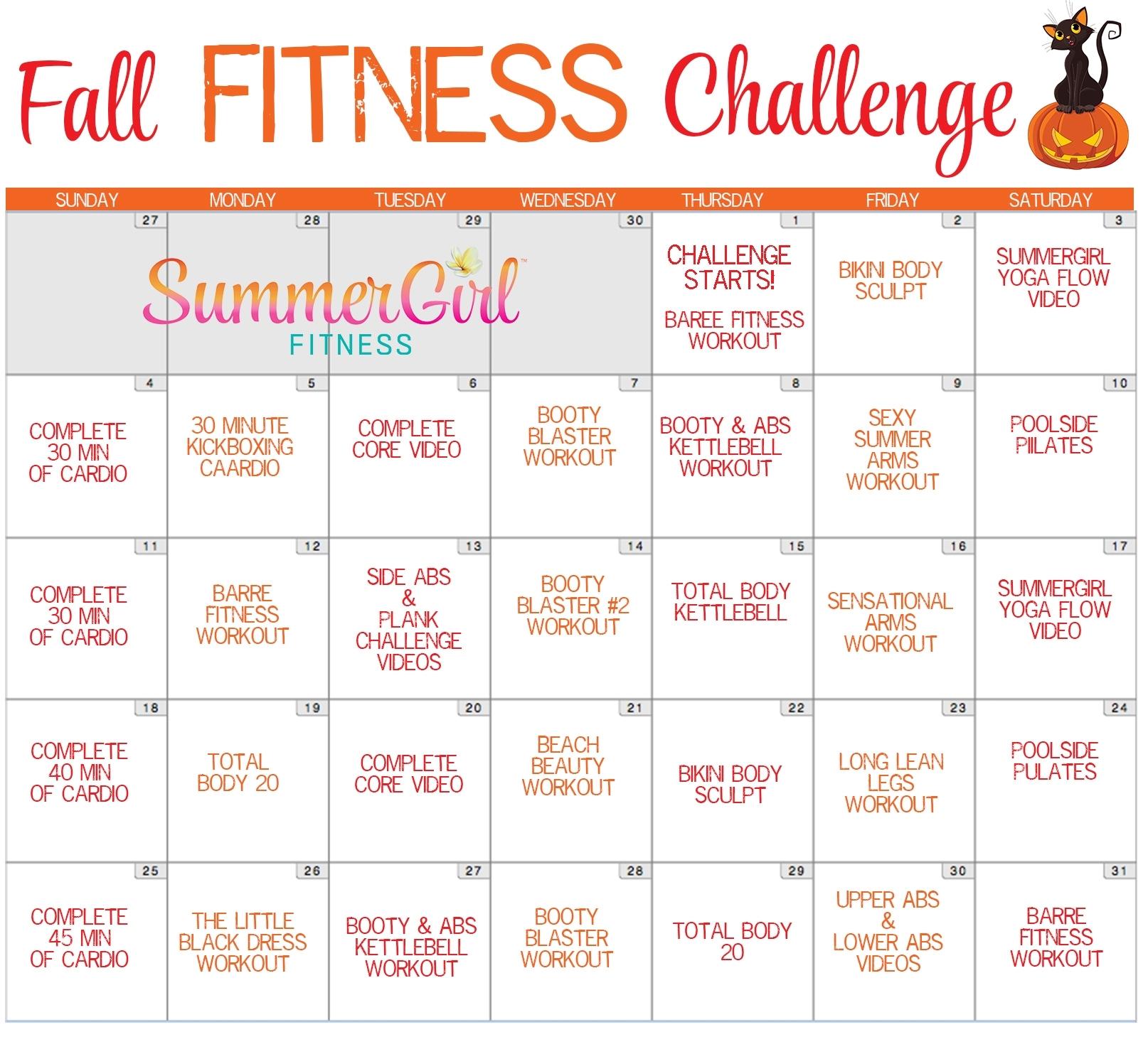 Fall Fitness Challenge Calendar | Summergirl Fitness