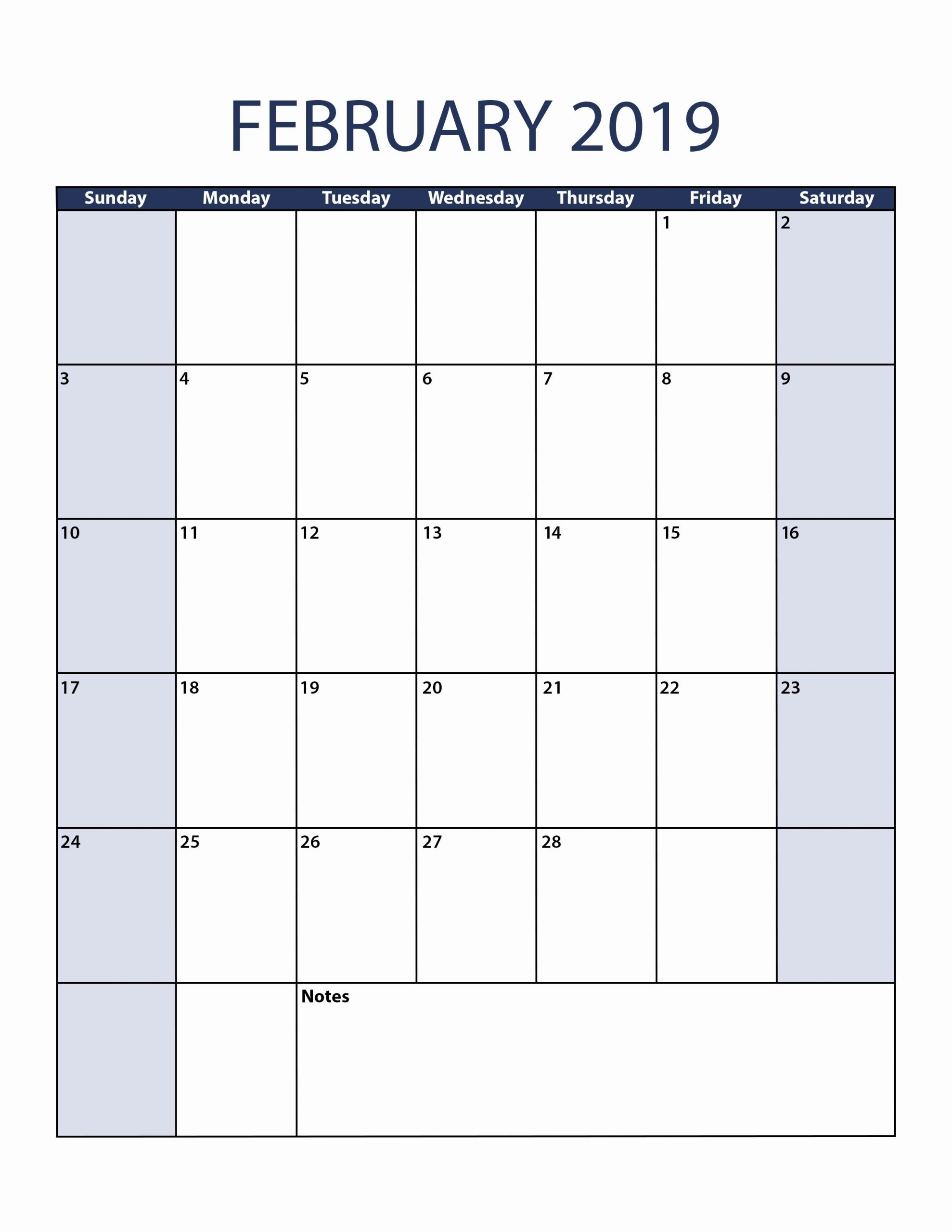 February 2019 Calendar Vertical | Calendar 2019 Printable