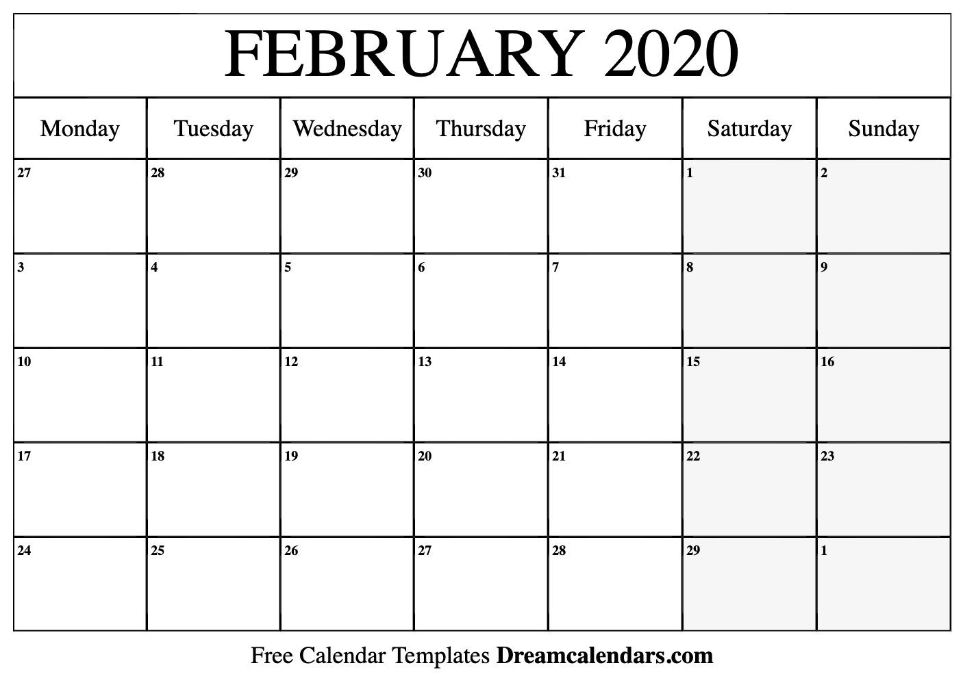 February 2020 Calendar   Free Blank Printable Templates