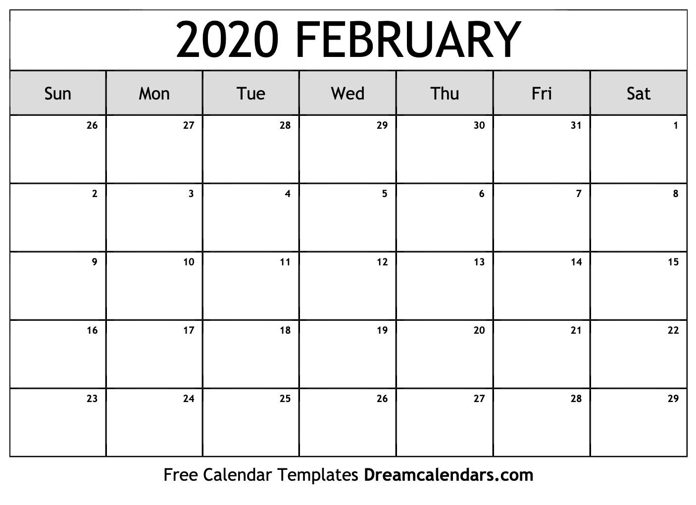 February 2020 Calendar | Free Blank Printable Templates
