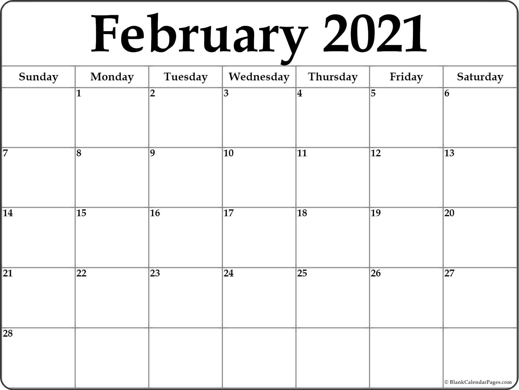 February 2021 Calendar | Free Printable Monthly Calendars