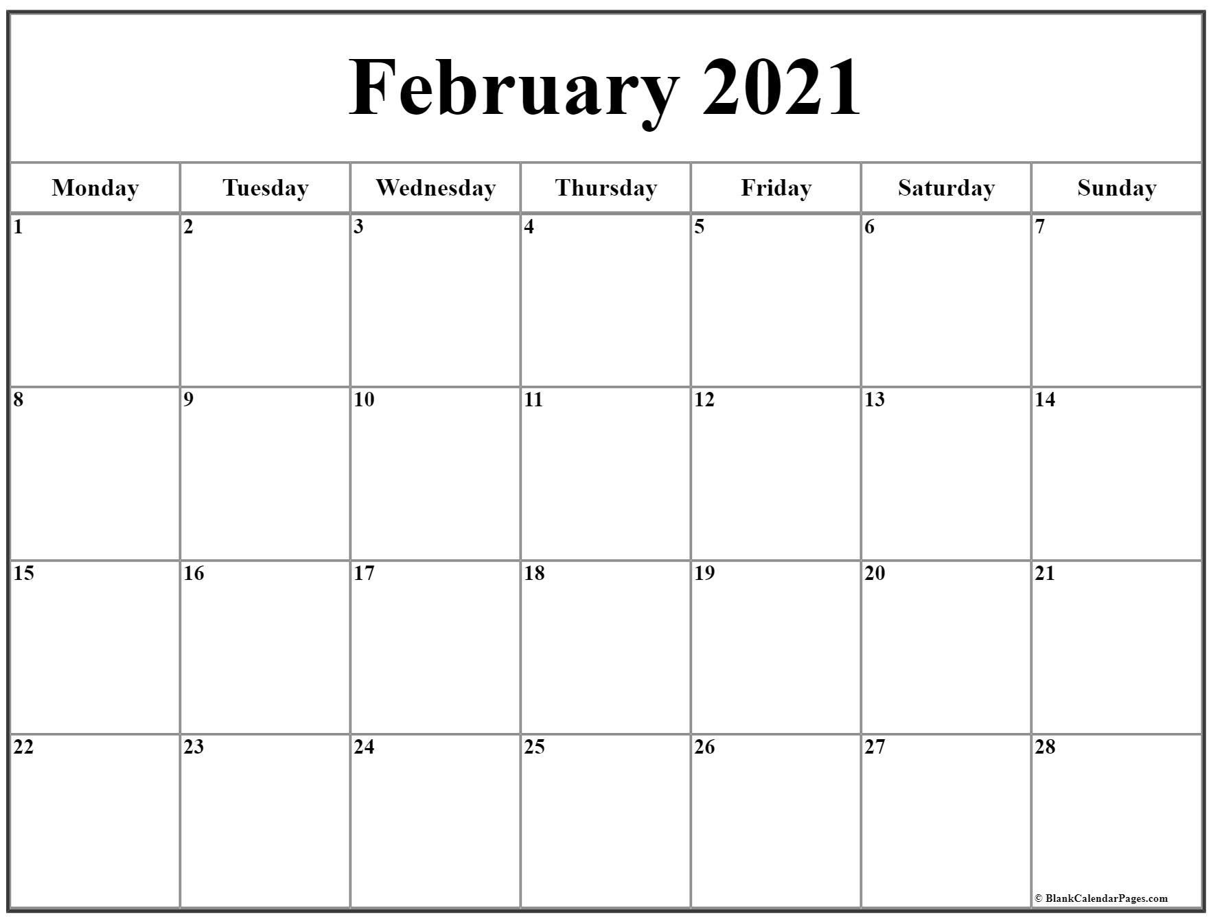 February 2021 Monday Calendar | Monday To Sunday