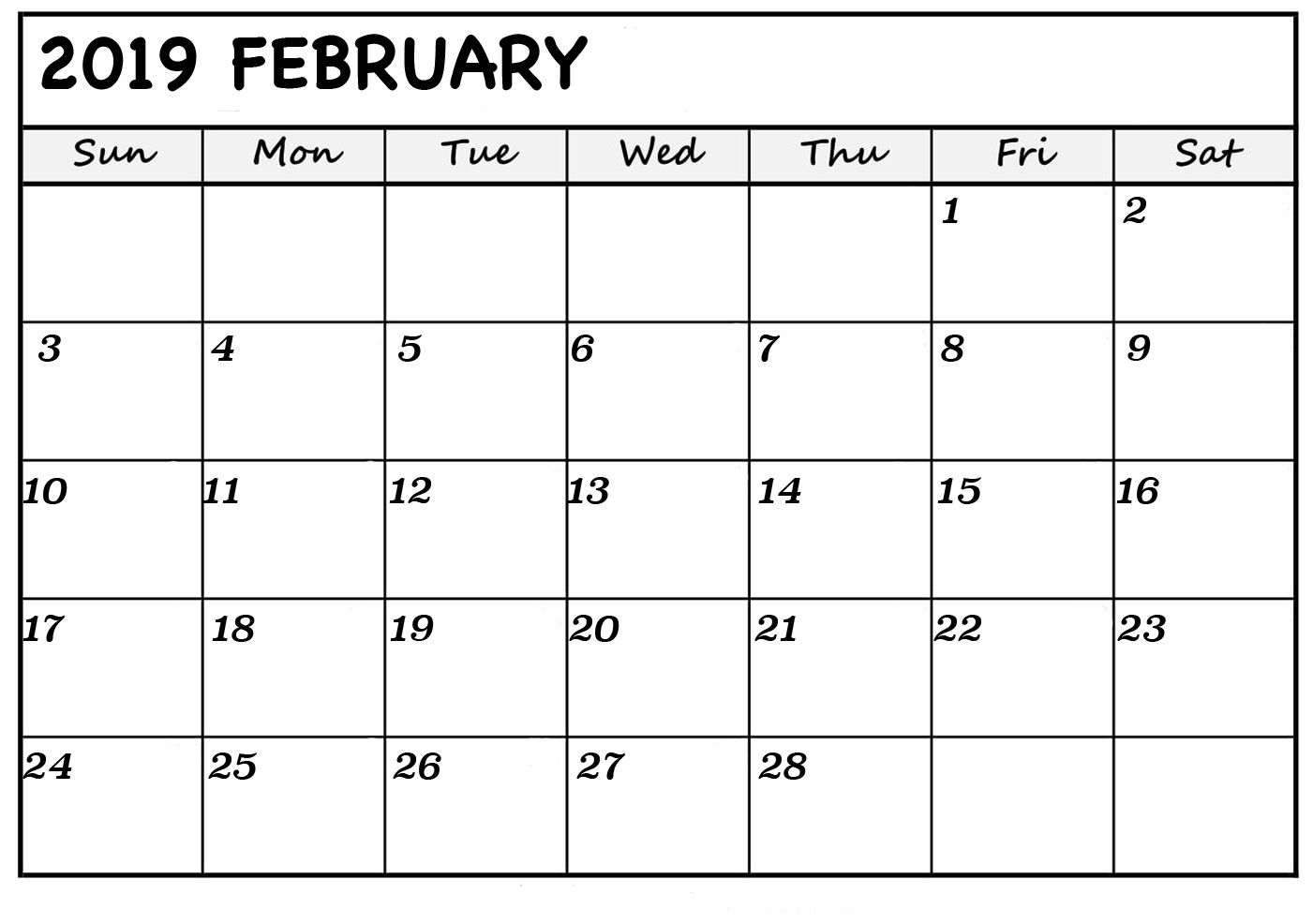 February Blank Calendar 2019 | Monthly Calendar Template in Fill In Calendar 2019 Pdf