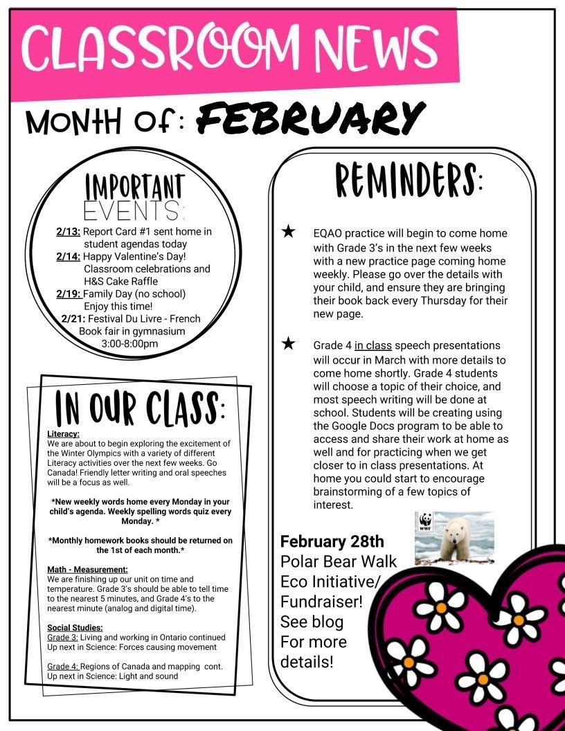 February-Newsletter | Mrs. Turnbull'S Grade 3 Classroom Blog