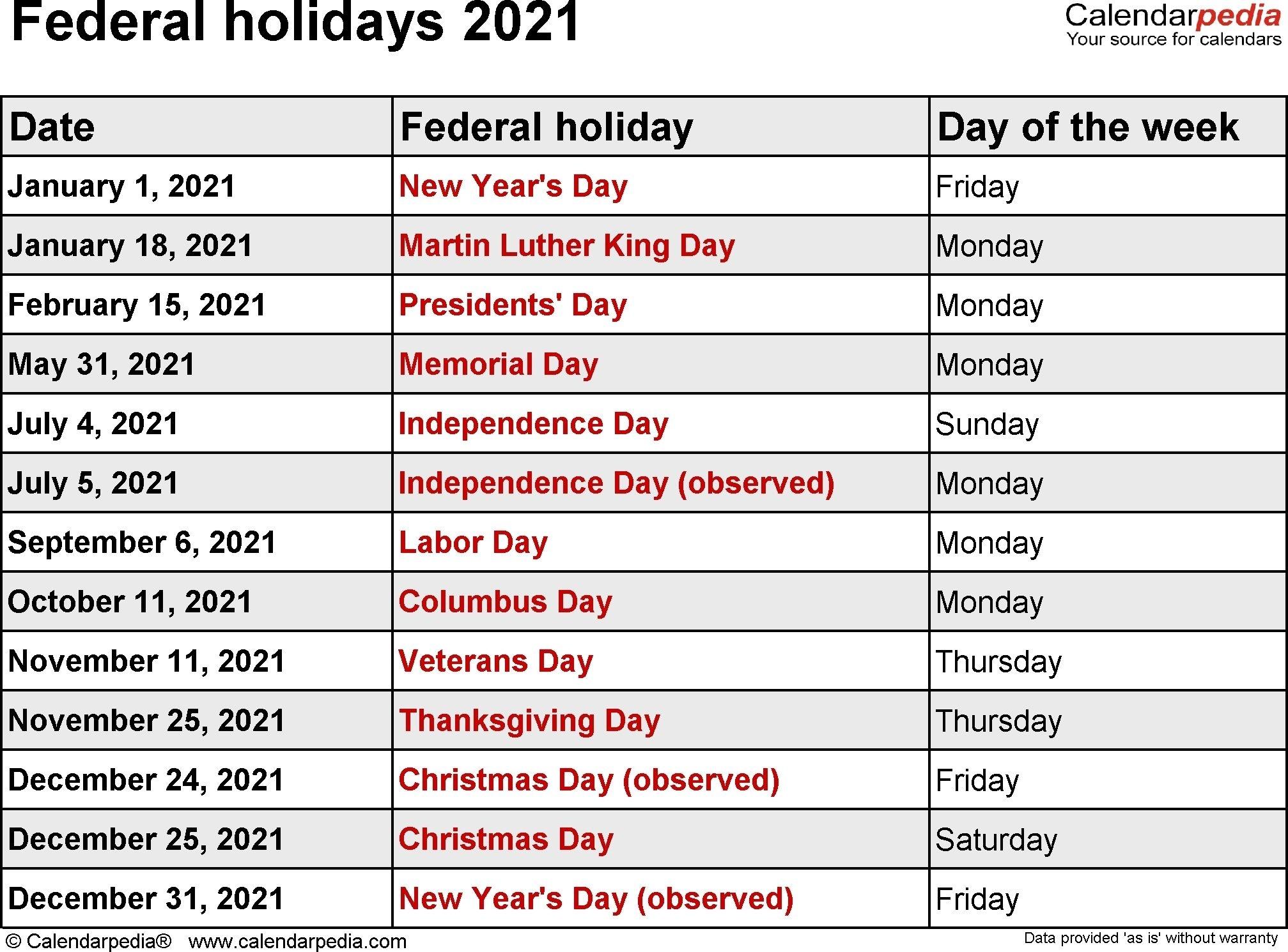 Federal Holidays 2021 Dowload | Holiday Calendar Printable