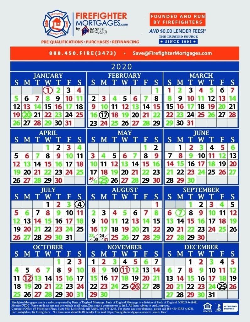 Fire Dept Shift Calendar 24/48 In 2020 | Calendar Printables