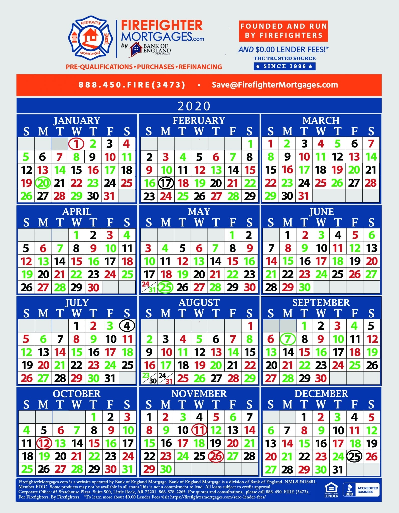 Firefighter Shift Calendars - Firefighter Mortgages® pertaining to Firefighter 24 48 Shift 2020 Calendar