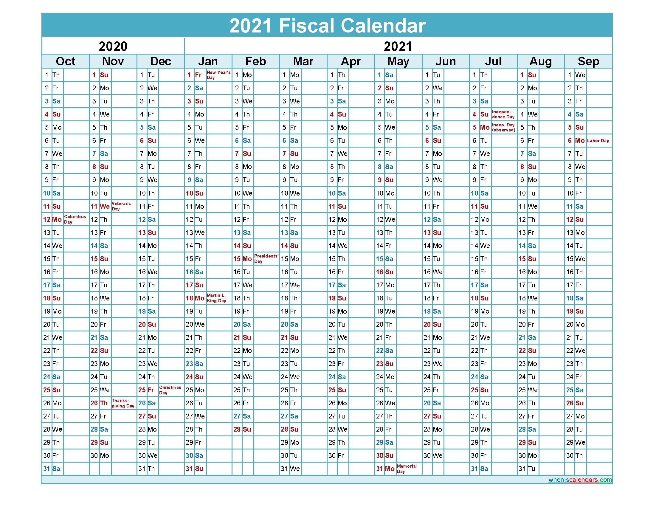 Fiscal Calendar 2021 Federal Fiscal Year - Template No