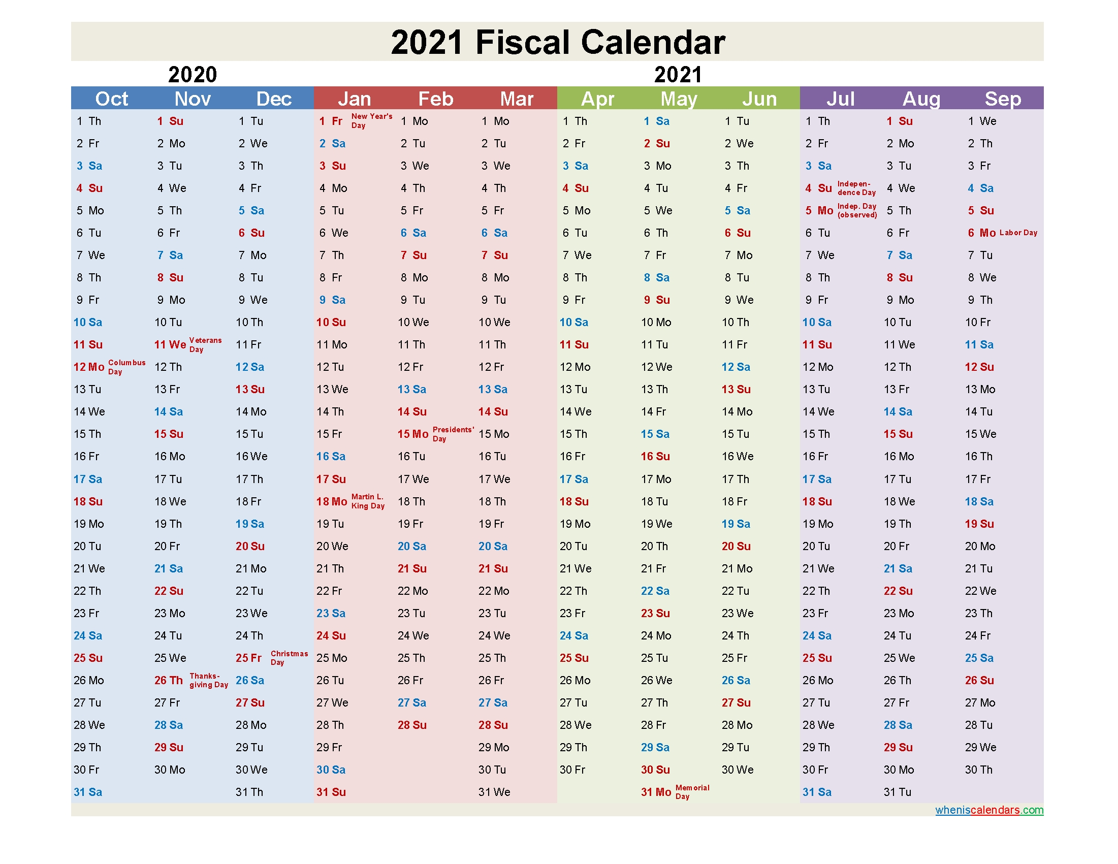 Fiscal Calendar 2021 Federal Fiscal Year - Template No