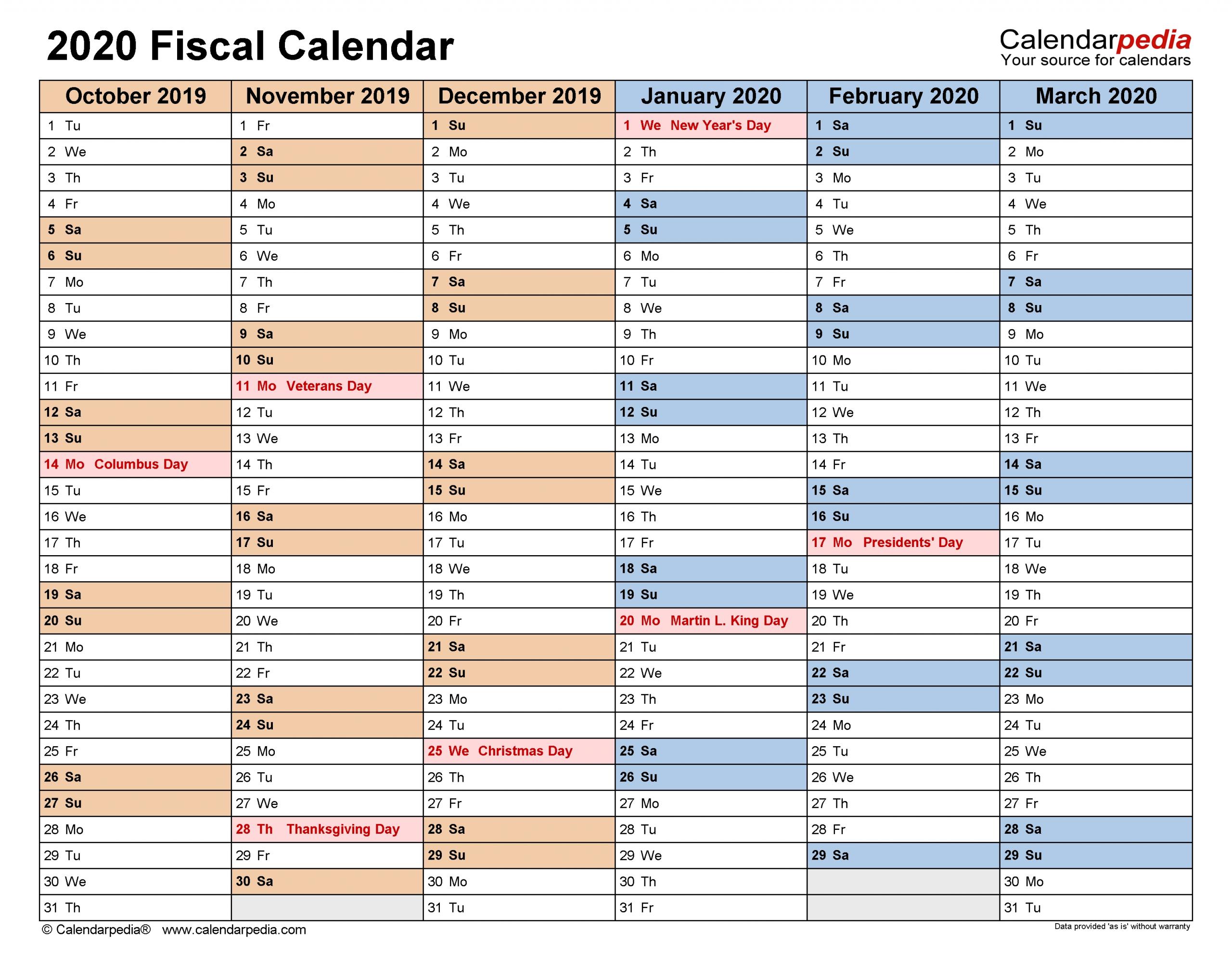 Fiscal Calendars 2020 - Free Printable Pdf Templates inside Financial Calendar 2019-2020 In Weeks