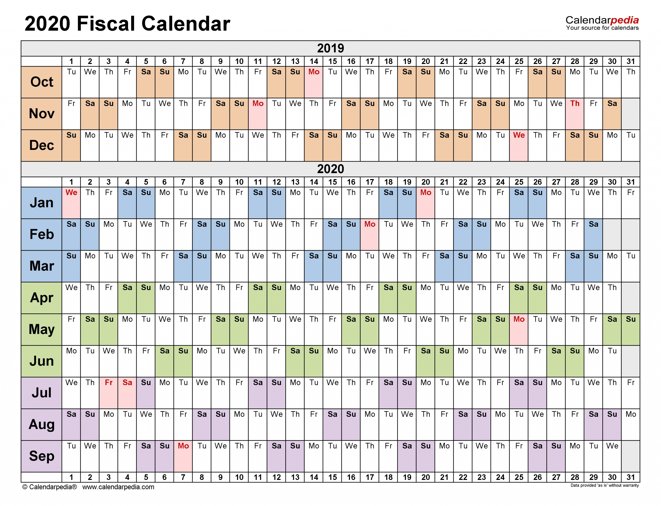 Fiscal Calendars 2020 - Free Printable Pdf Templates with regard to Financial Calendar 2019-2020 In Weeks