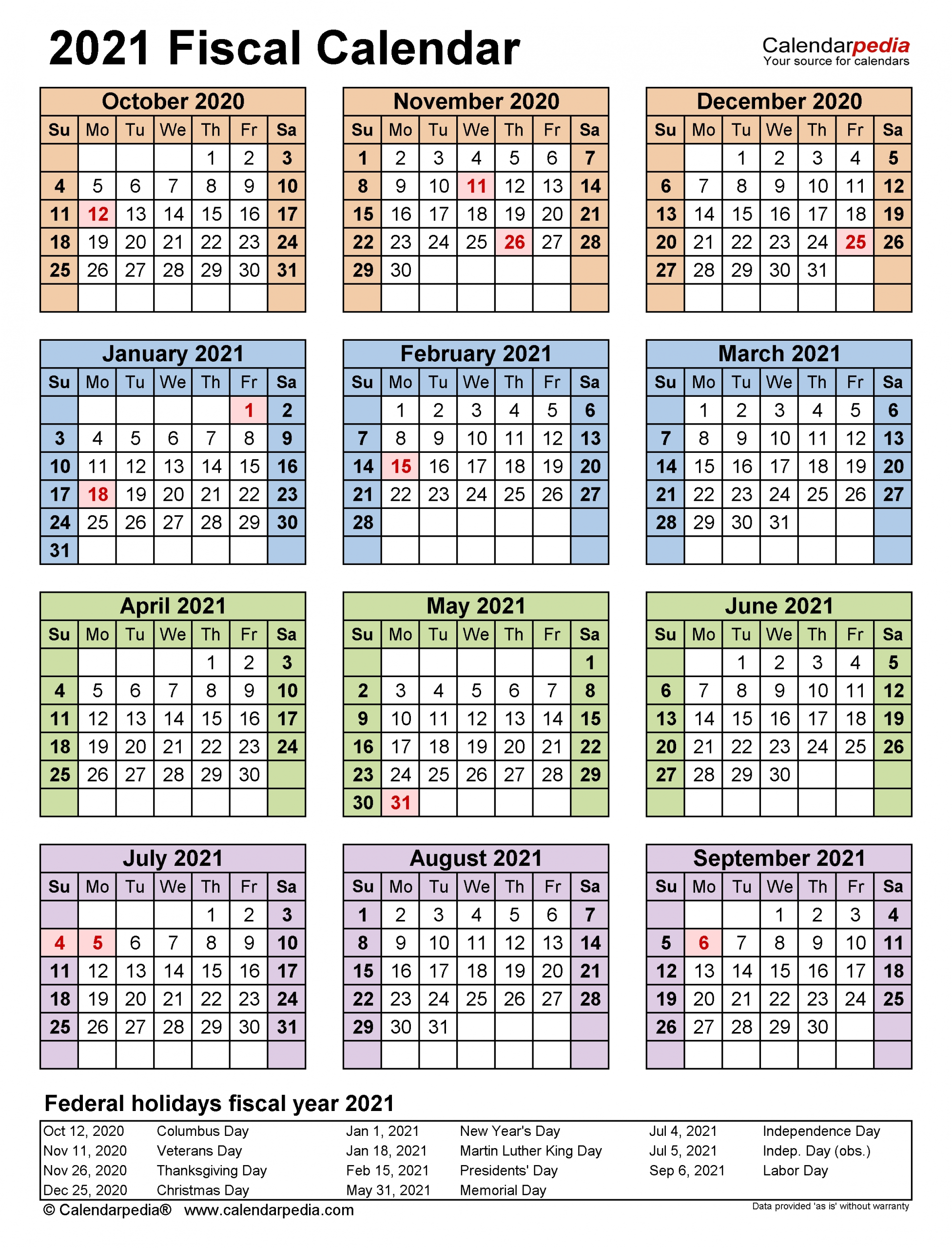 Fiscal Calendars 2021 - Free Printable Pdf Templates
