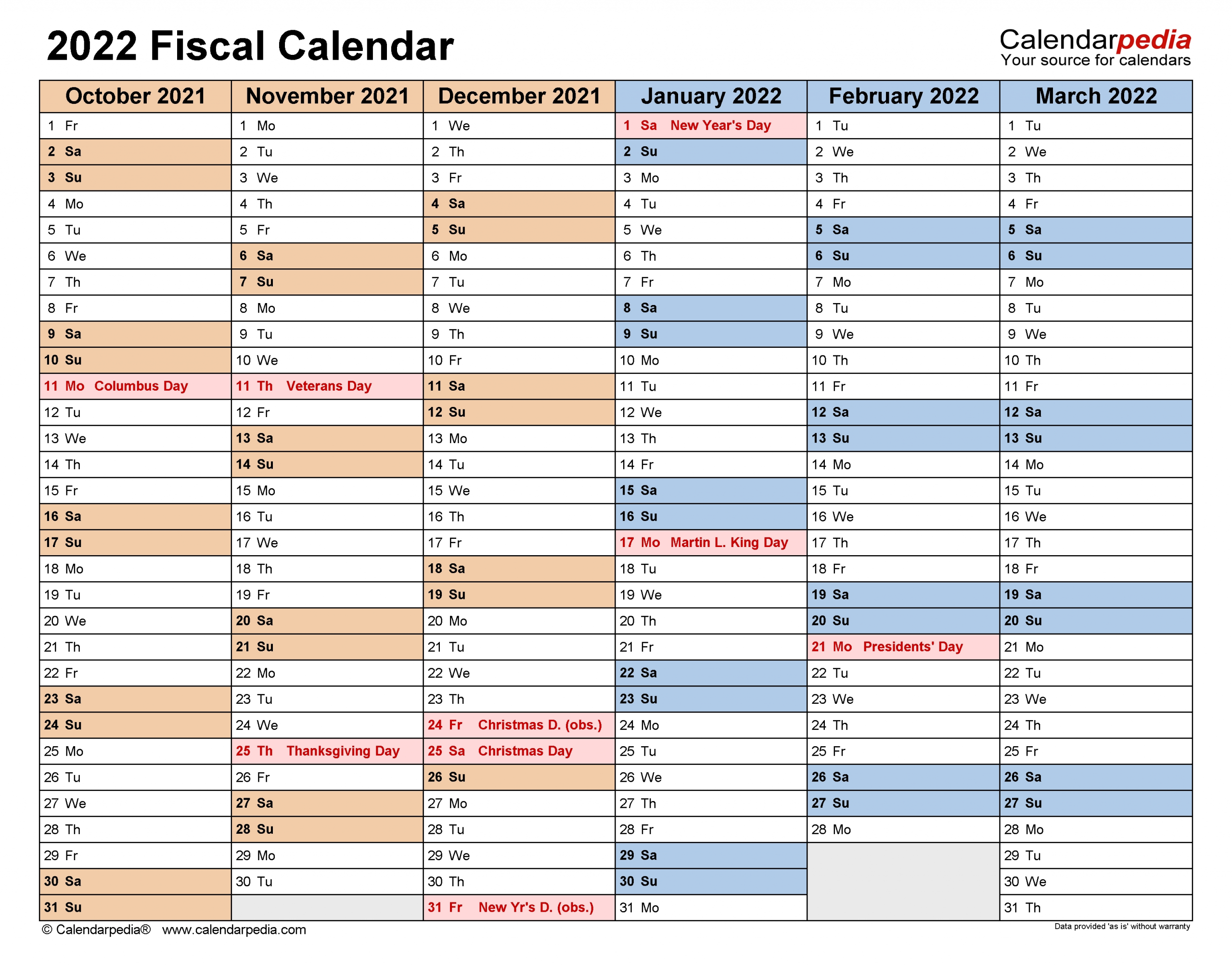 Fiscal Calendars 2022 - Free Printable Word Templates