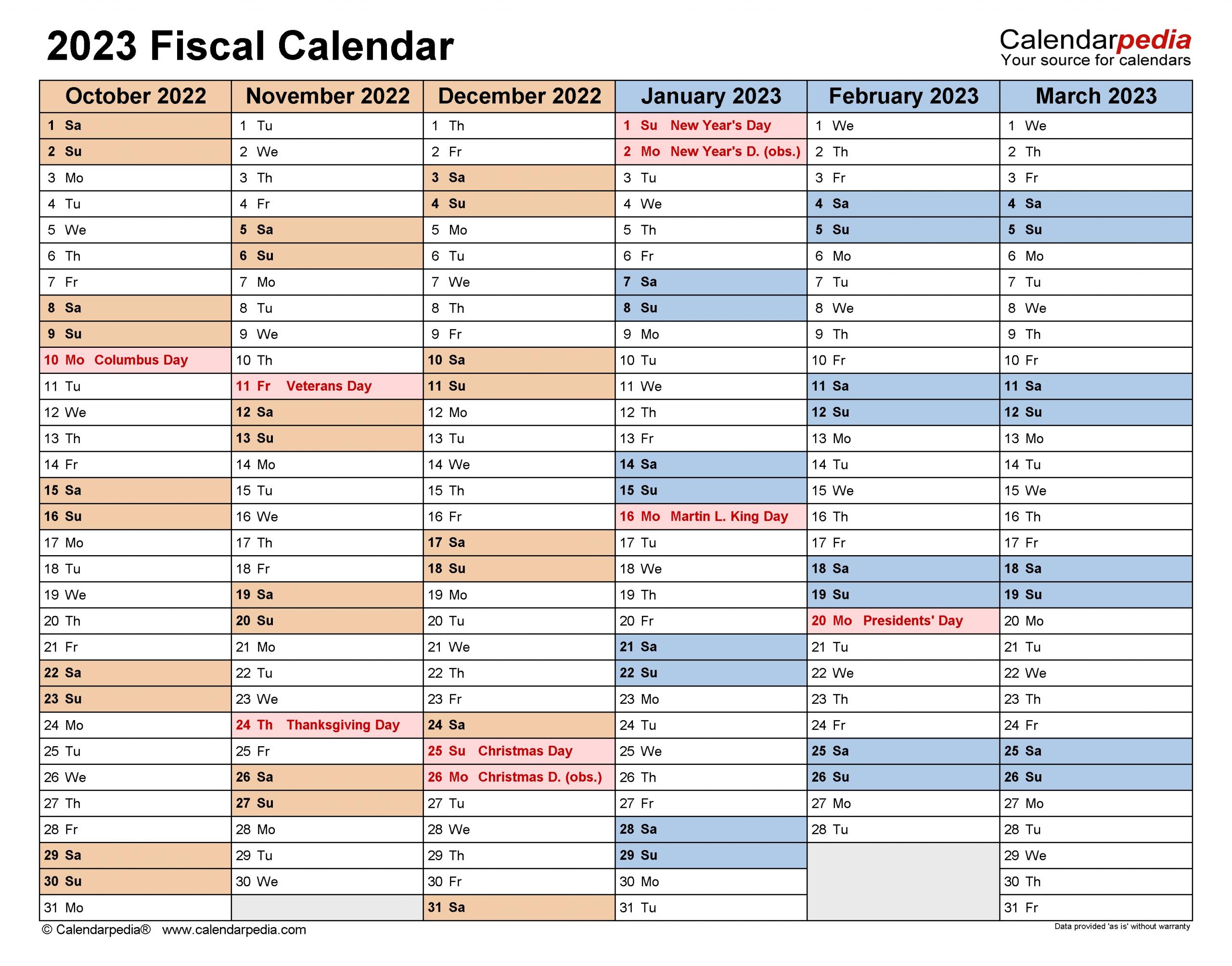 Fiscal Calendars 2023 - Free Printable Pdf Templates
