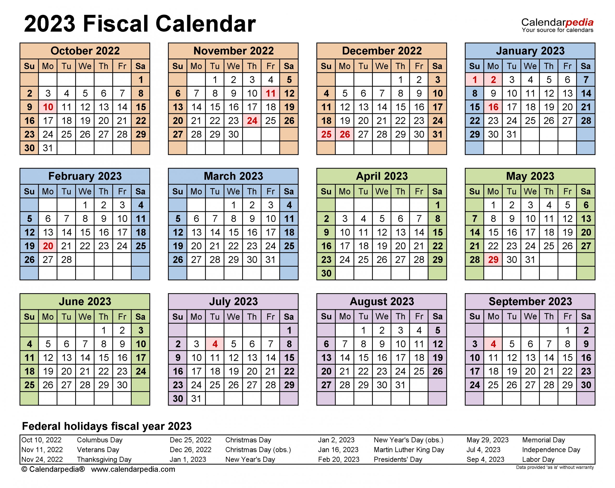 Fiscal Calendars 2023 - Free Printable Pdf Templates