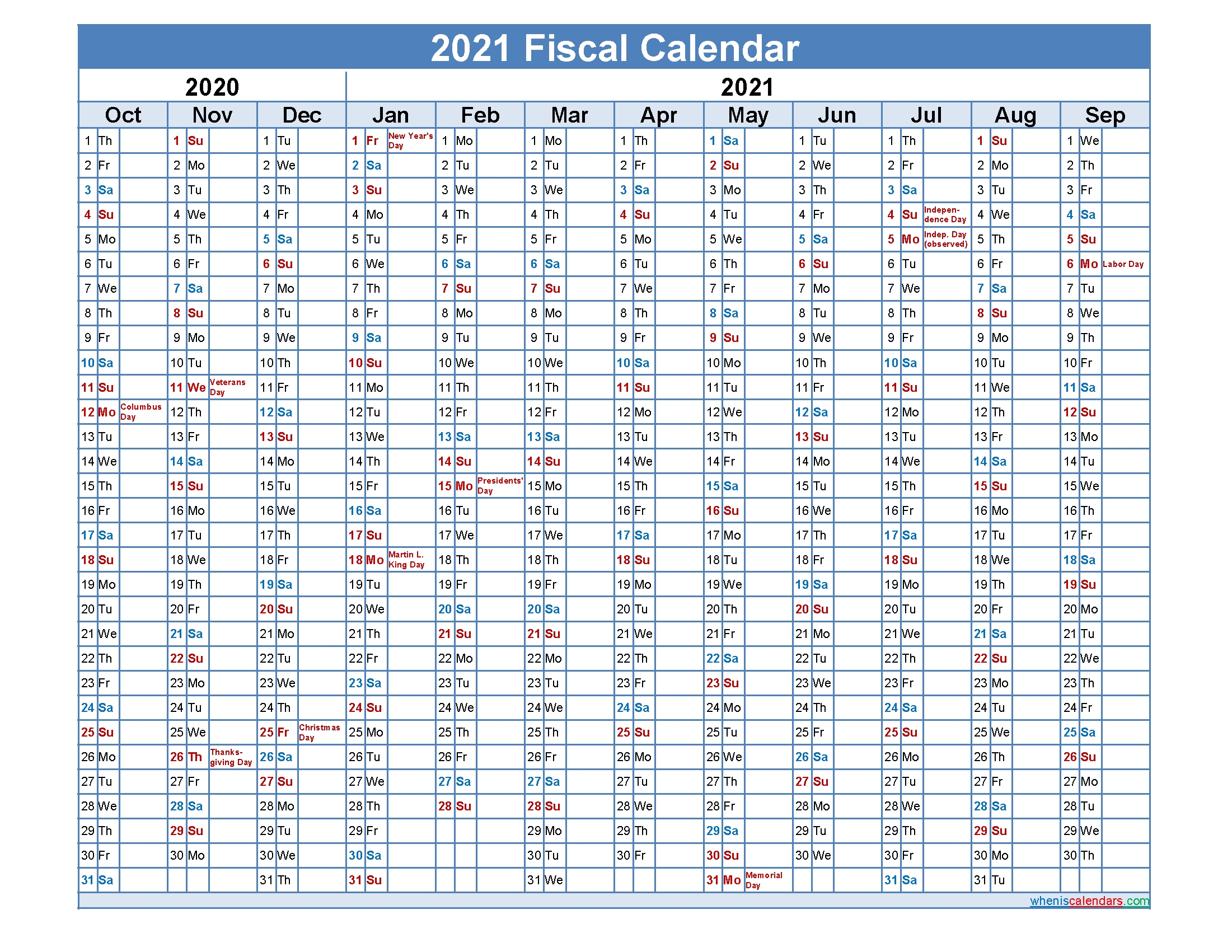 Fiscal Month Calendar 2021 – Template No.fiscal21Y32 – Free