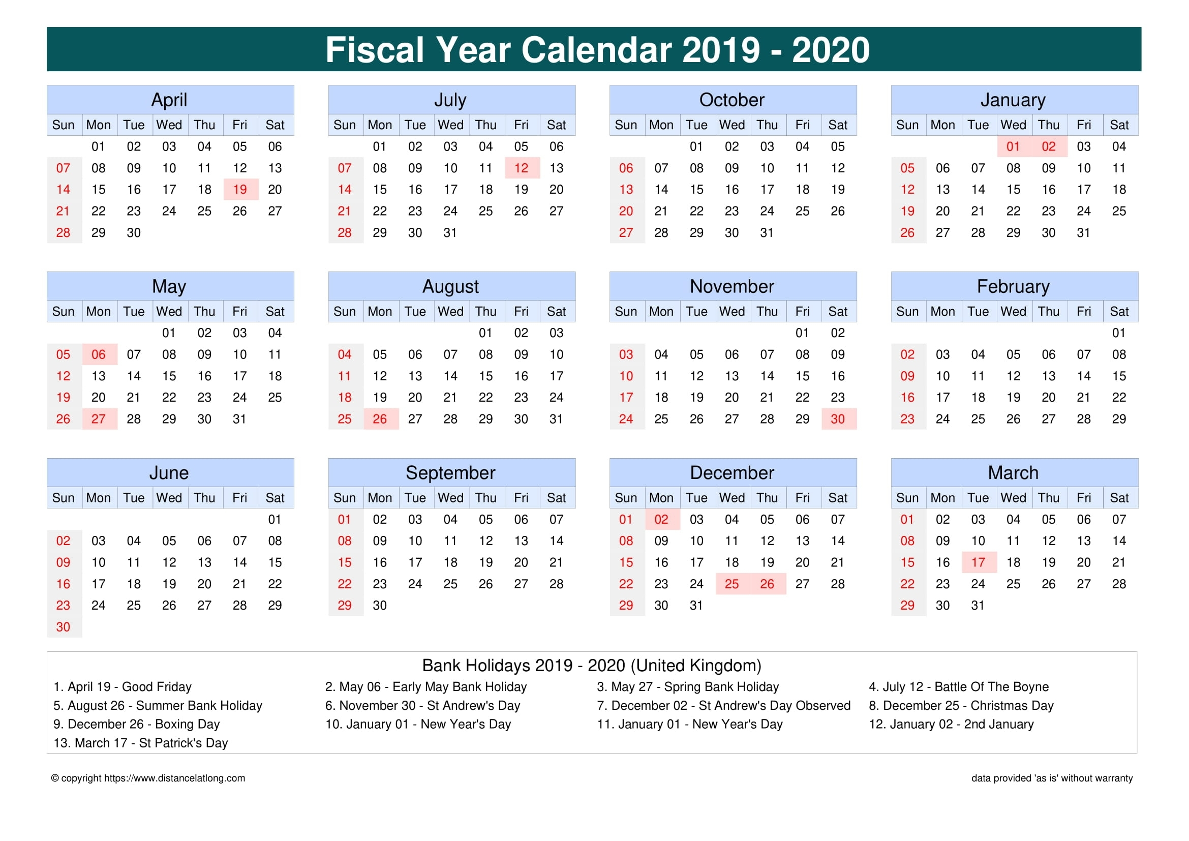 Fiscal Year 2019-2020 Calendar Templates, Free Printable for Financial Calendar 2019/2020 Week Number 25