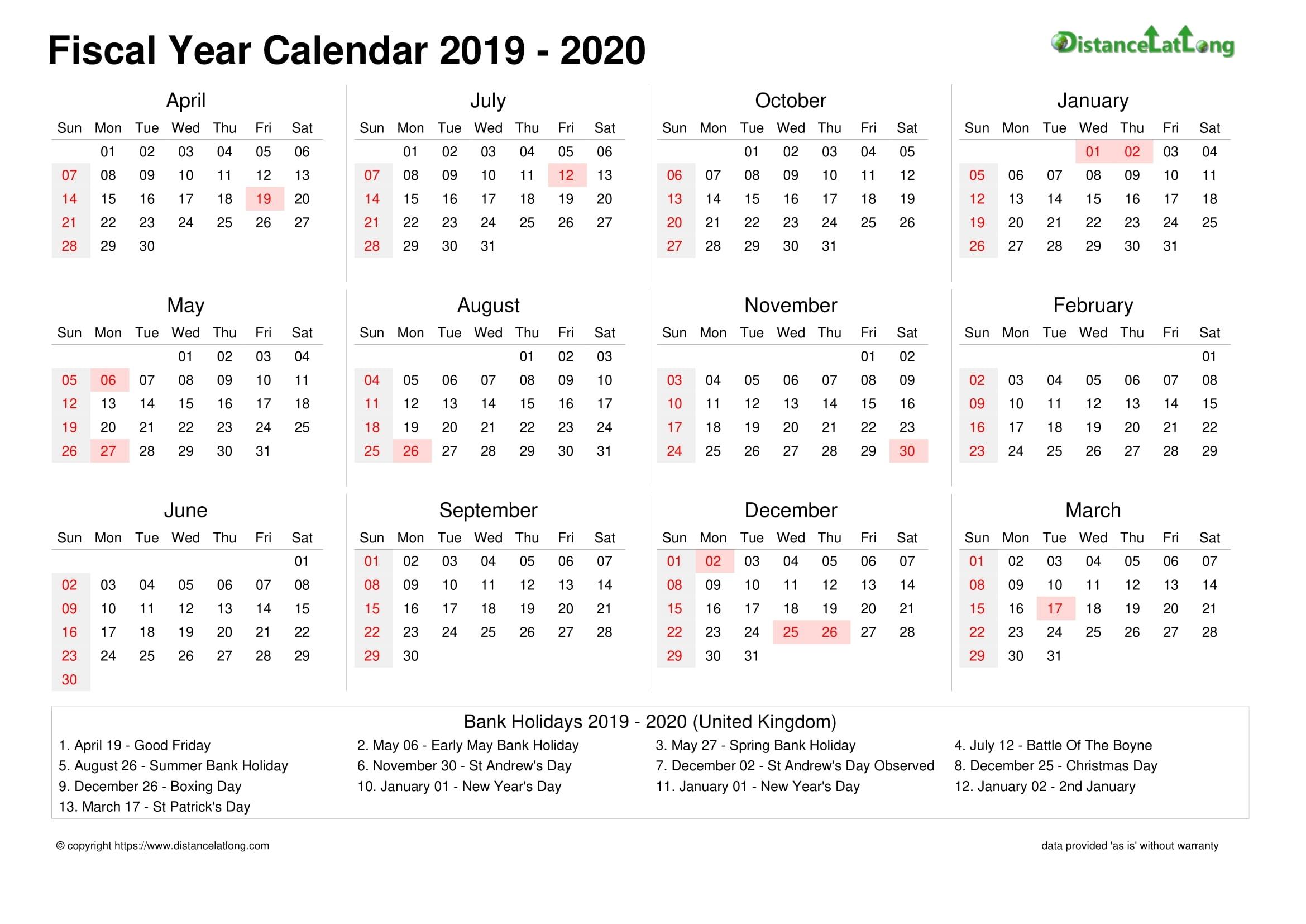 Fiscal Year 2019-2020 Calendar Templates, Free Printable inside Financial Calendar 2019/2020 Week Number 25