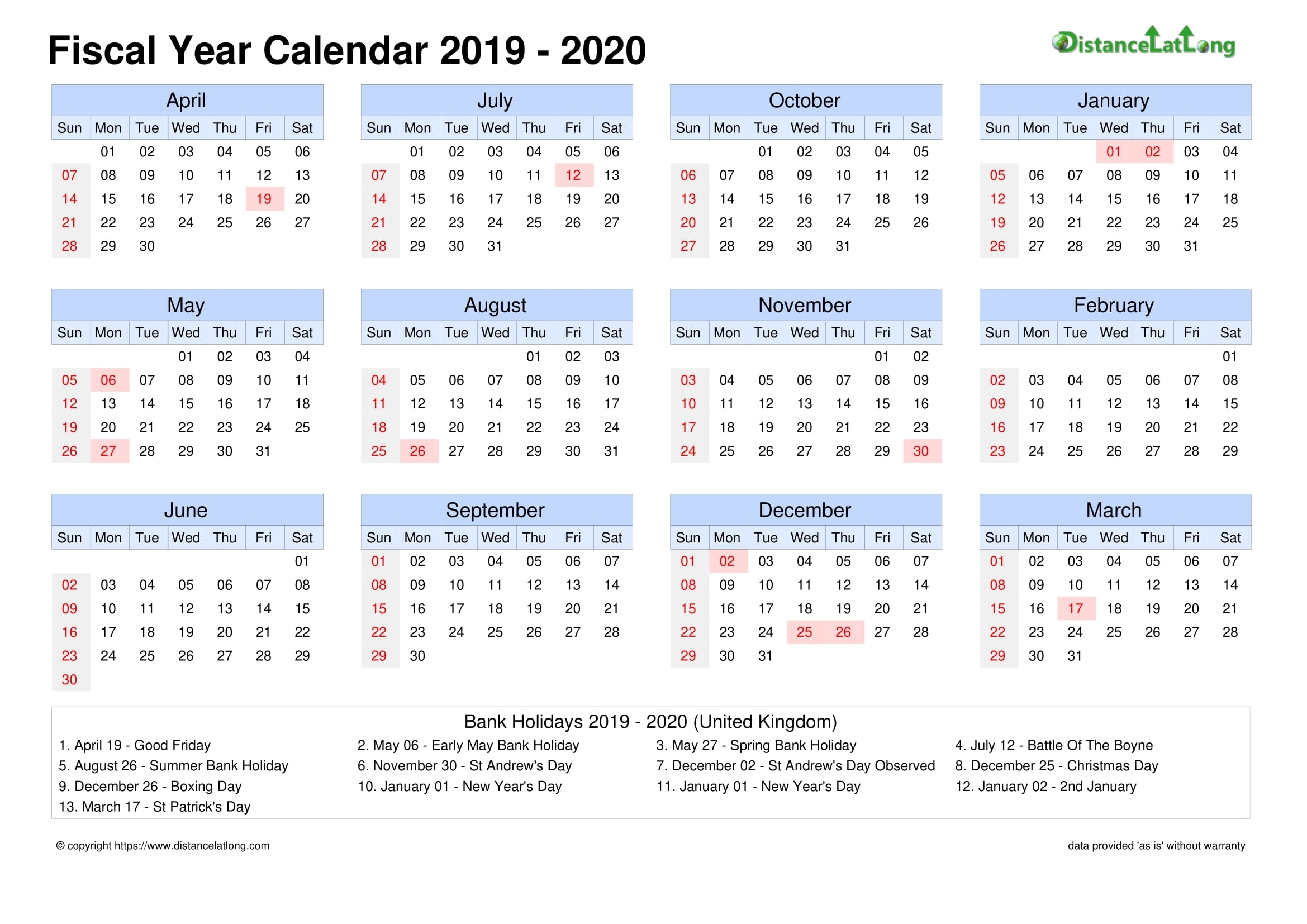 Fiscal Year 2019-2020 Calendar Templates, Free Printable pertaining to Financial Calendar 2019/2020 Week Number 25