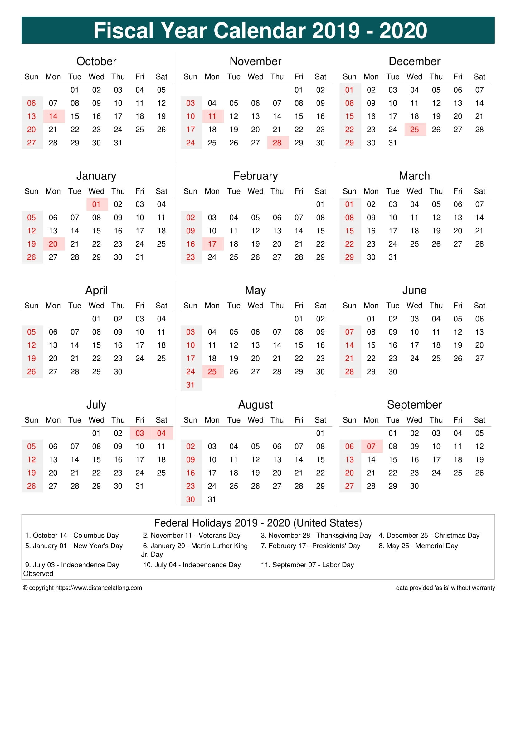 Fiscal Year 2019-2020 Calendar Templates, Free Printable with regard to Financial Calendar 2019-2020 In Weeks