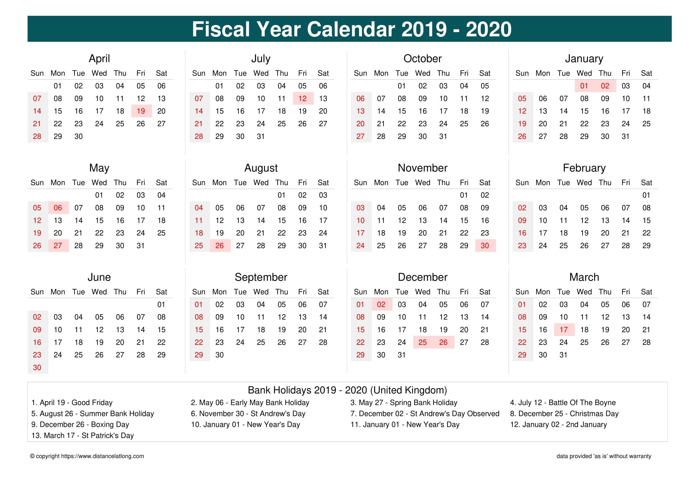 Fiscal Year 2019-2020 Calendar Templates, Free Printable