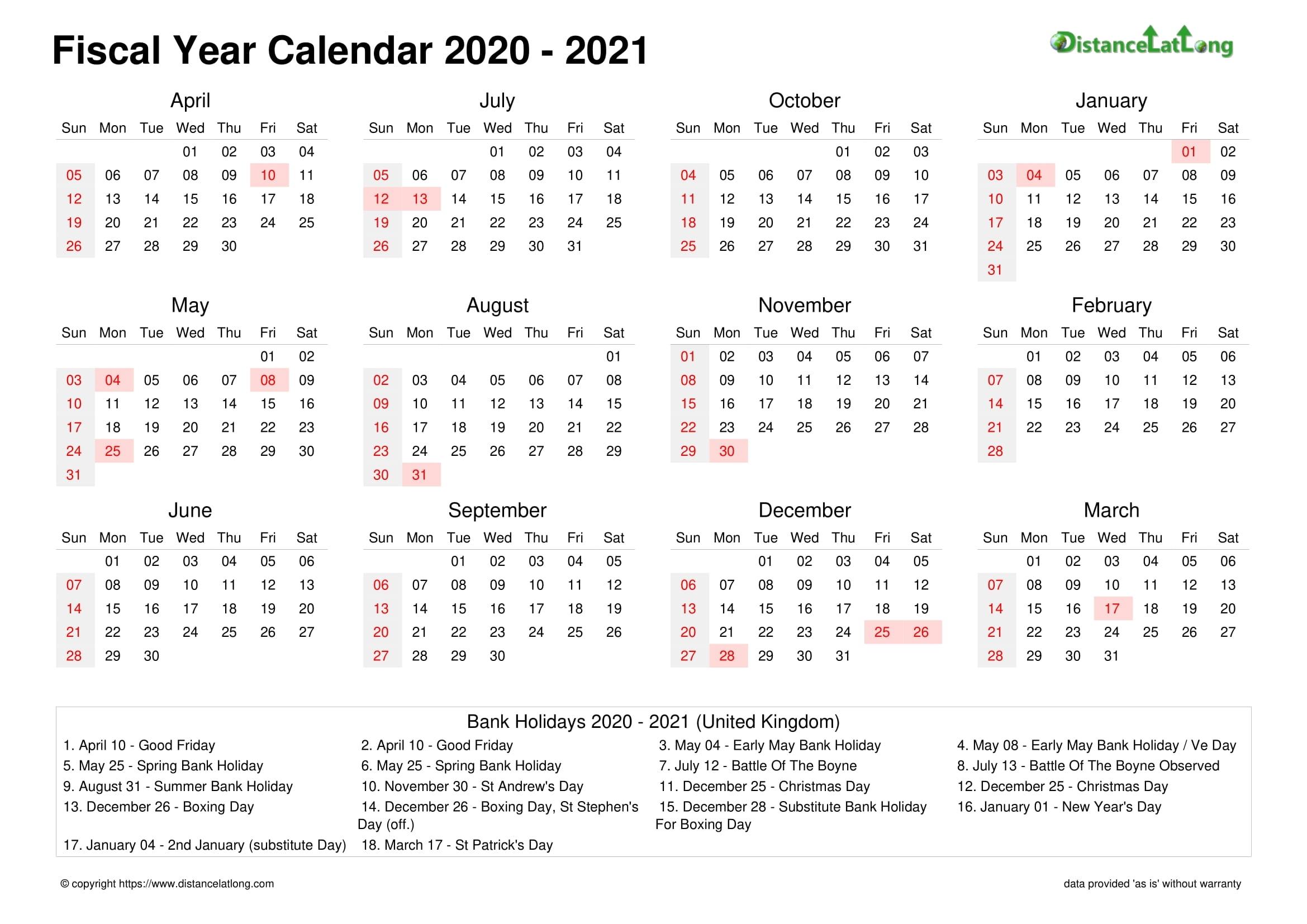 Fiscal Year 2020-2021 Calendar Templates, Free Printable