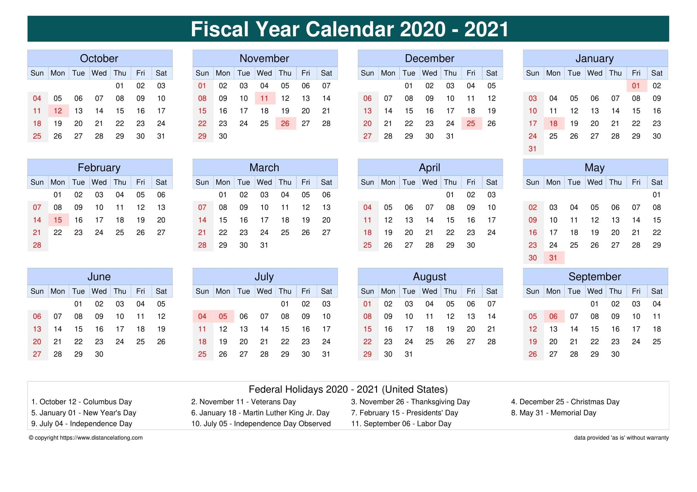 Fiscal Year 2020-2021 Calendar Templates, Free Printable in Financial Calendar 2019-2020 In Weeks