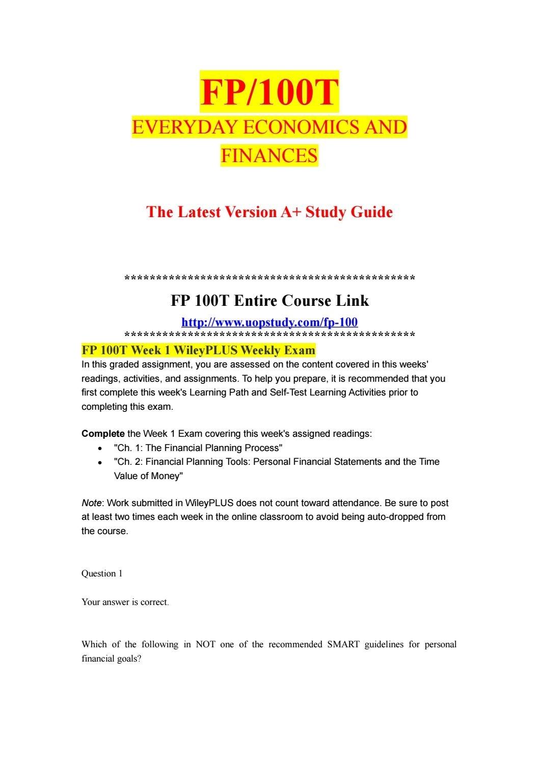 Fp 100T Week 1 Wileyplus Weekly Exam- Uopstudy